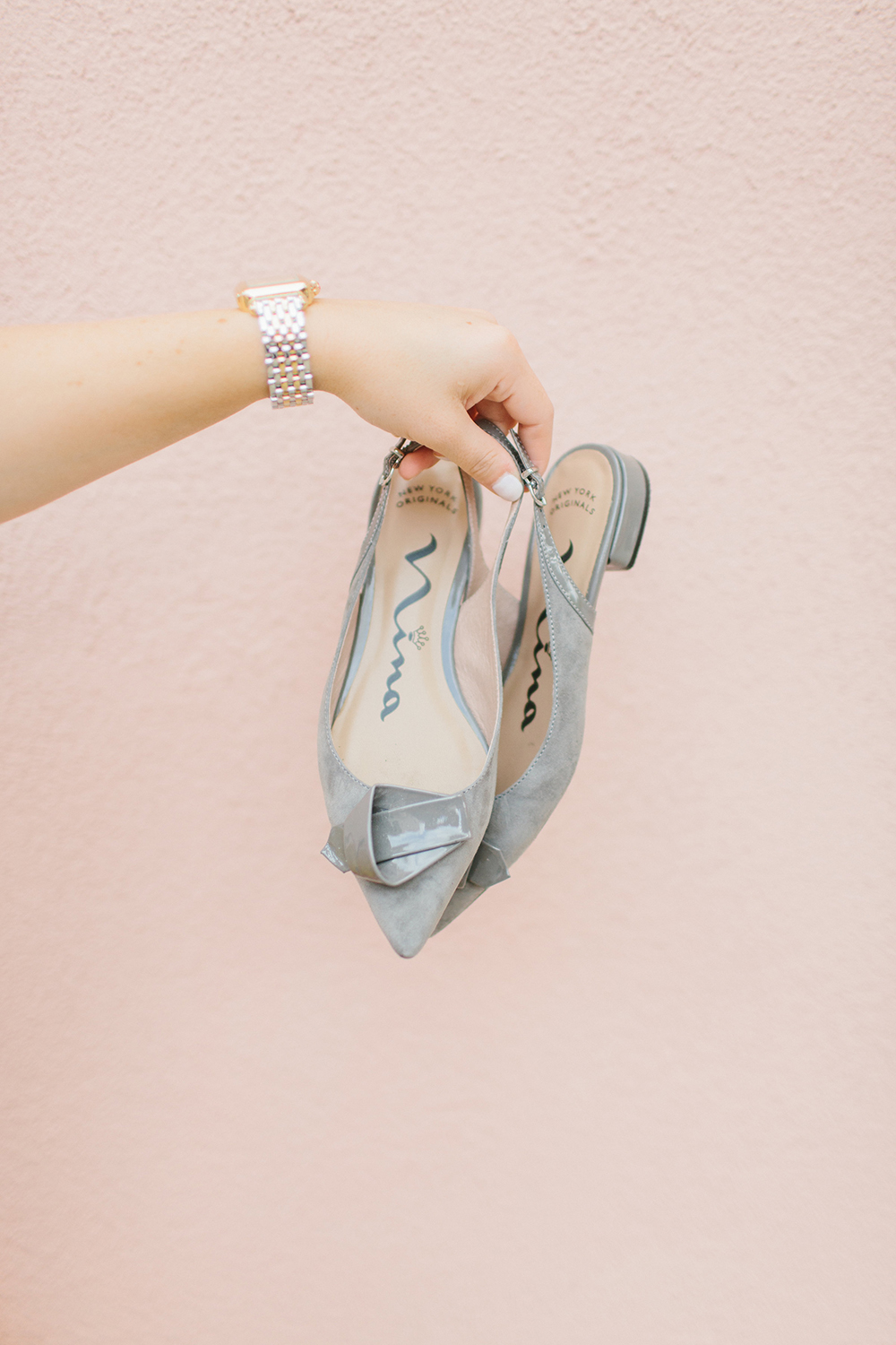 Grey Slingback Pointed Flats