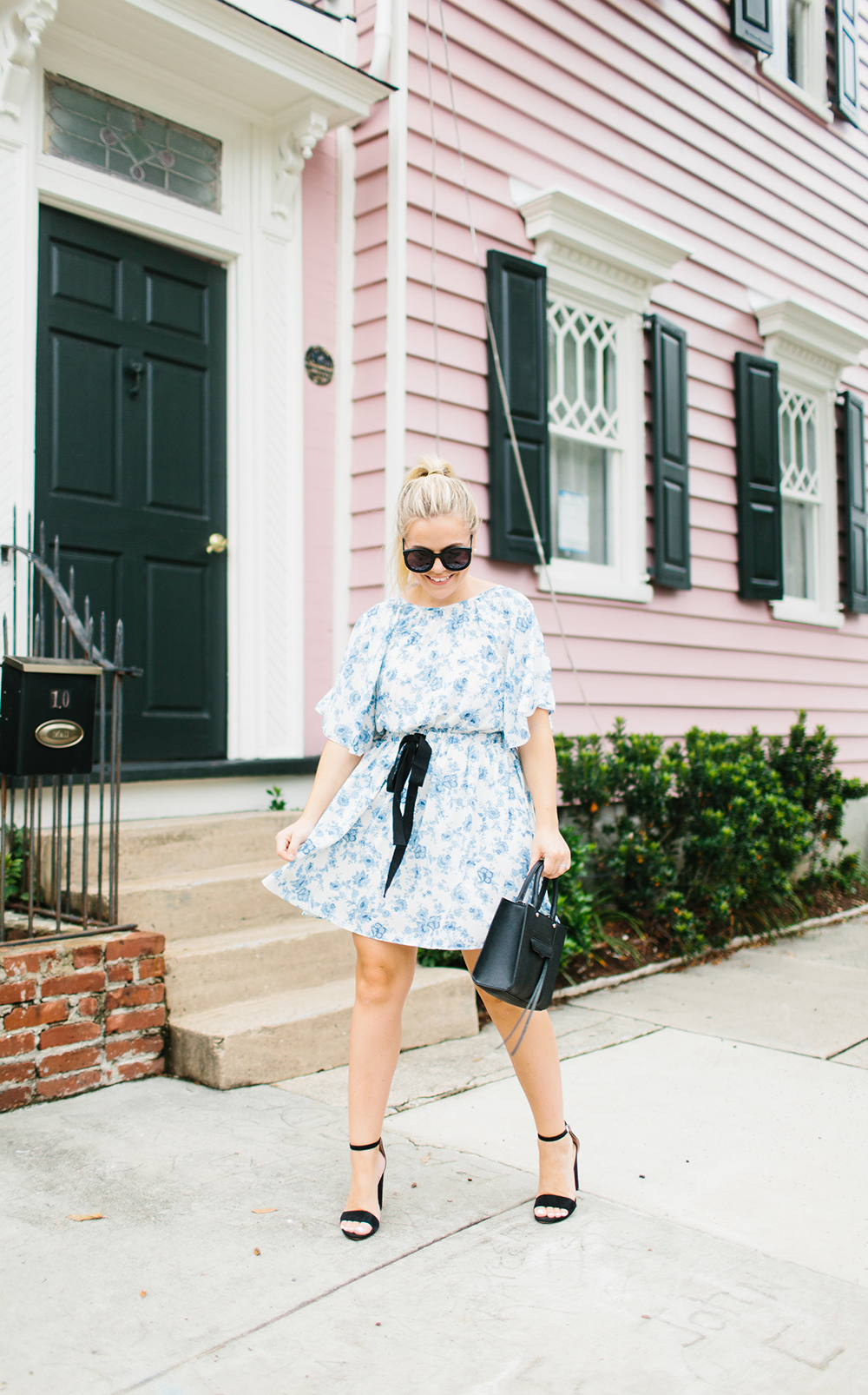 Floral Flutter Sleeve Dress + Black Ribbon Cinched Waist