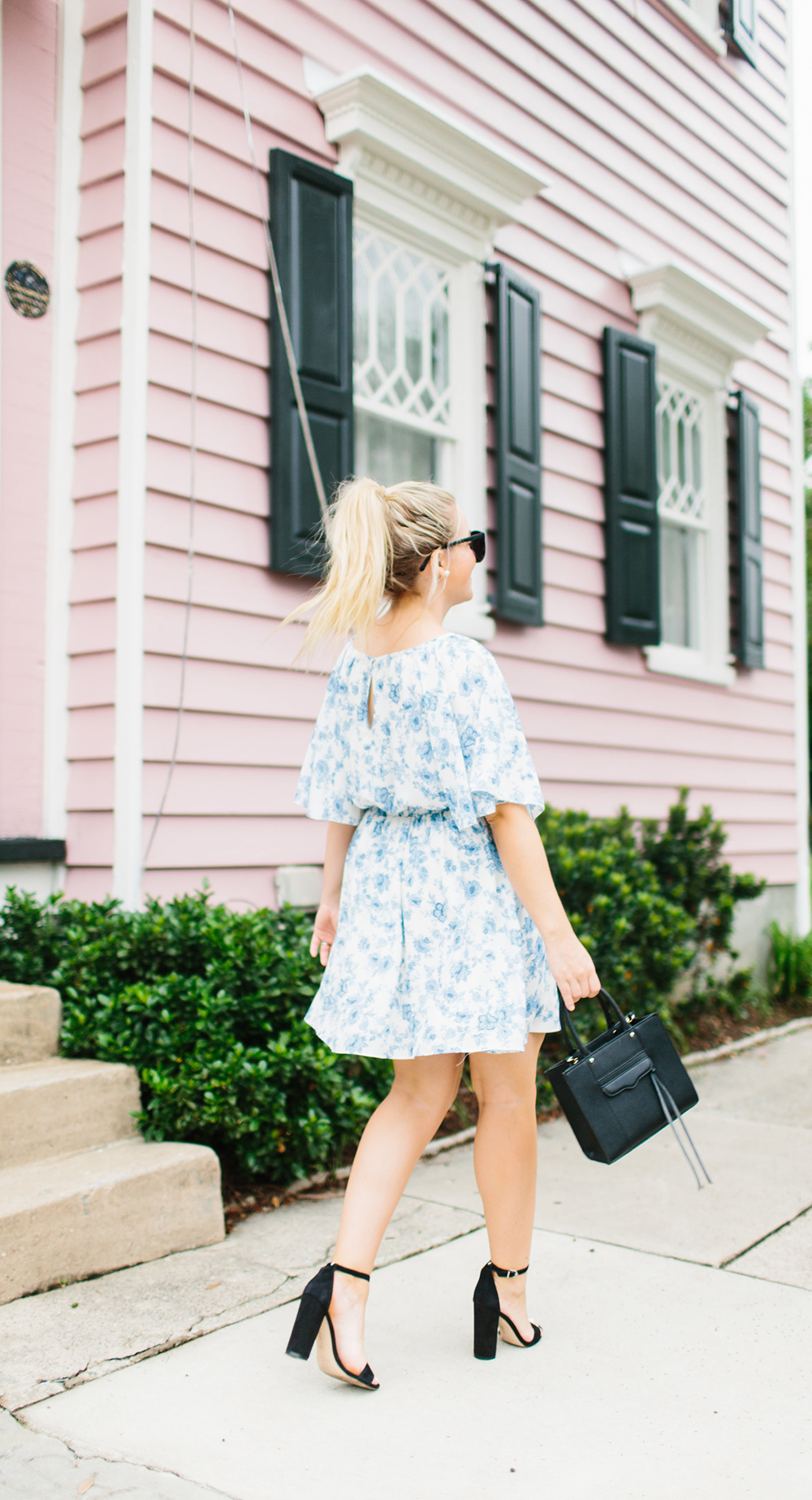 Blue Floral + Black Ribbon Cinched Waist