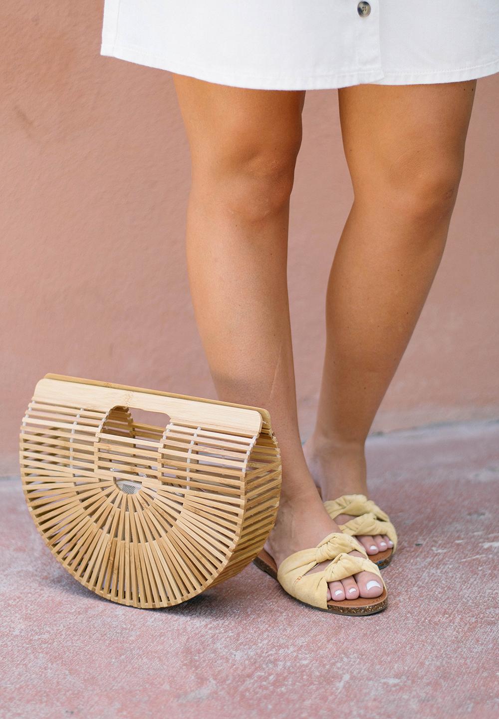 Mustard Bow Slide Sandals