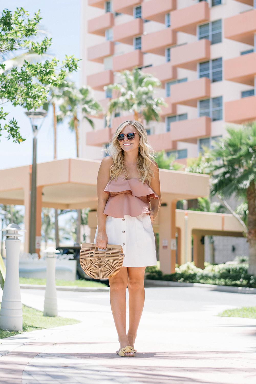 Ruffle Top + White Denim Skirt