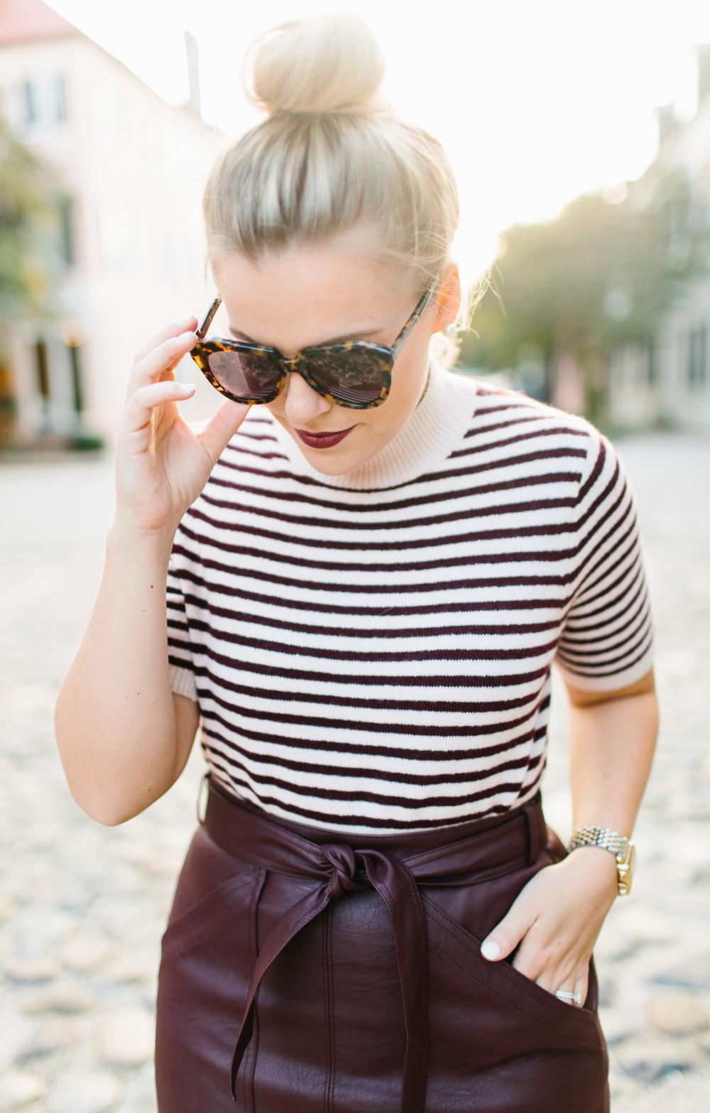 Burgundy Leather Mini Skirt