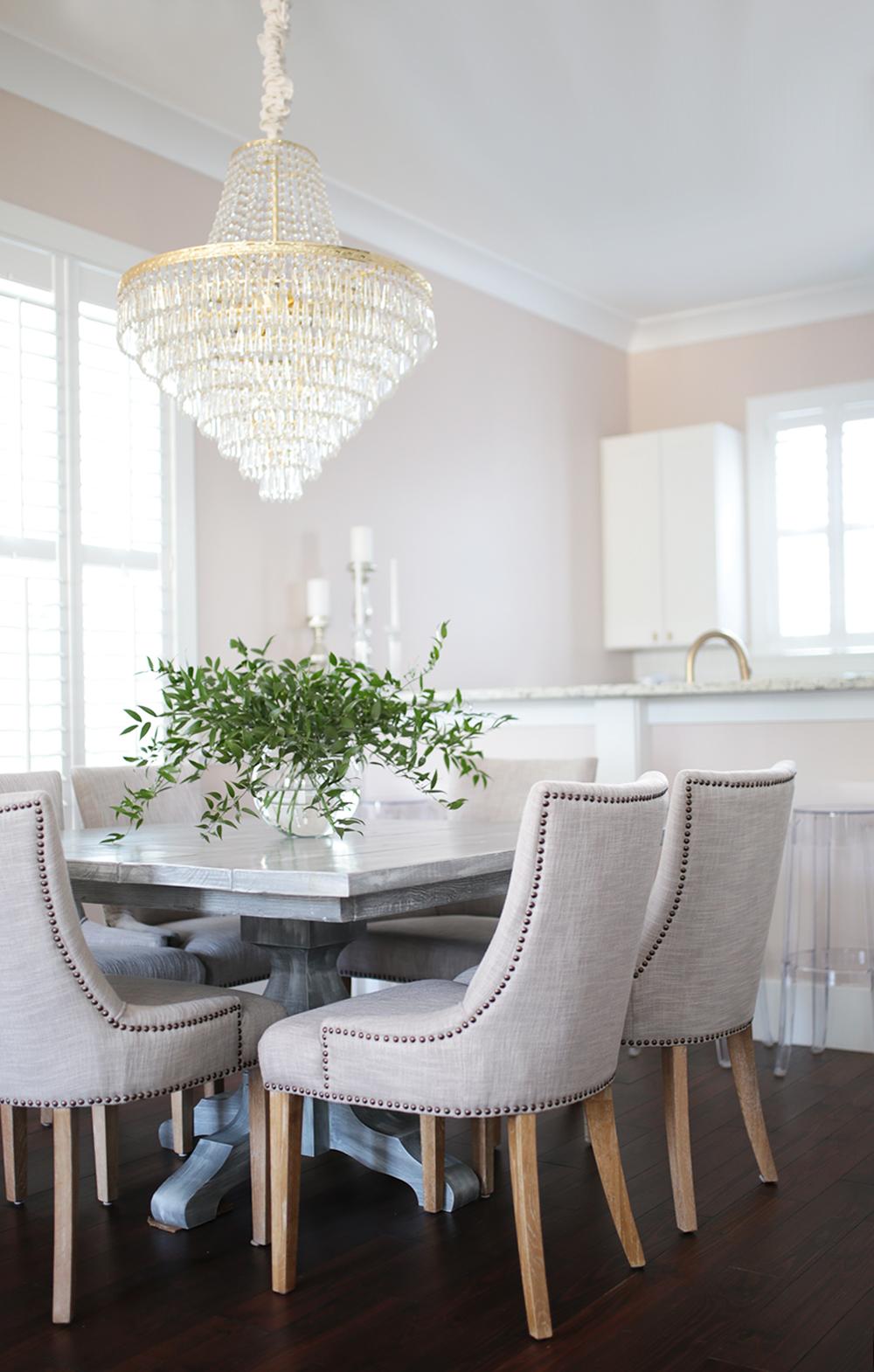 Farmhouse + Glam Dining Room