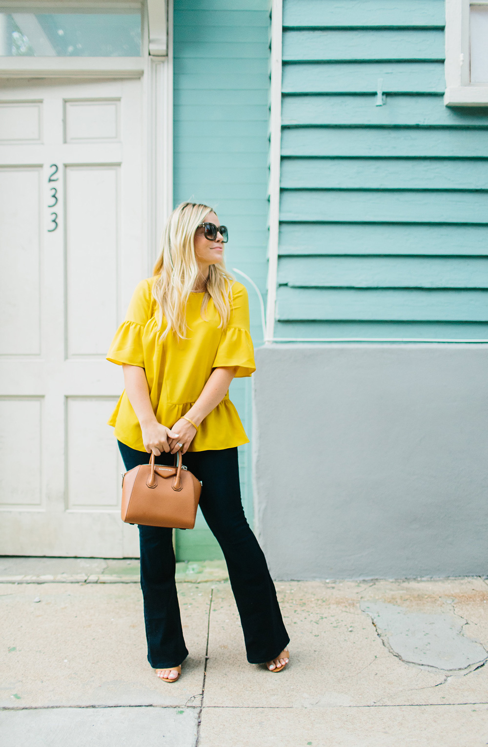 Mustard Ruffled Blouse