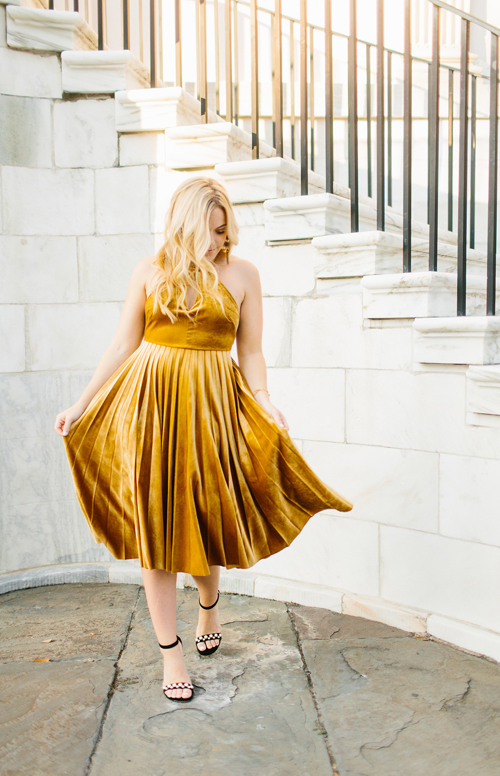 Marigold Velvet Dress