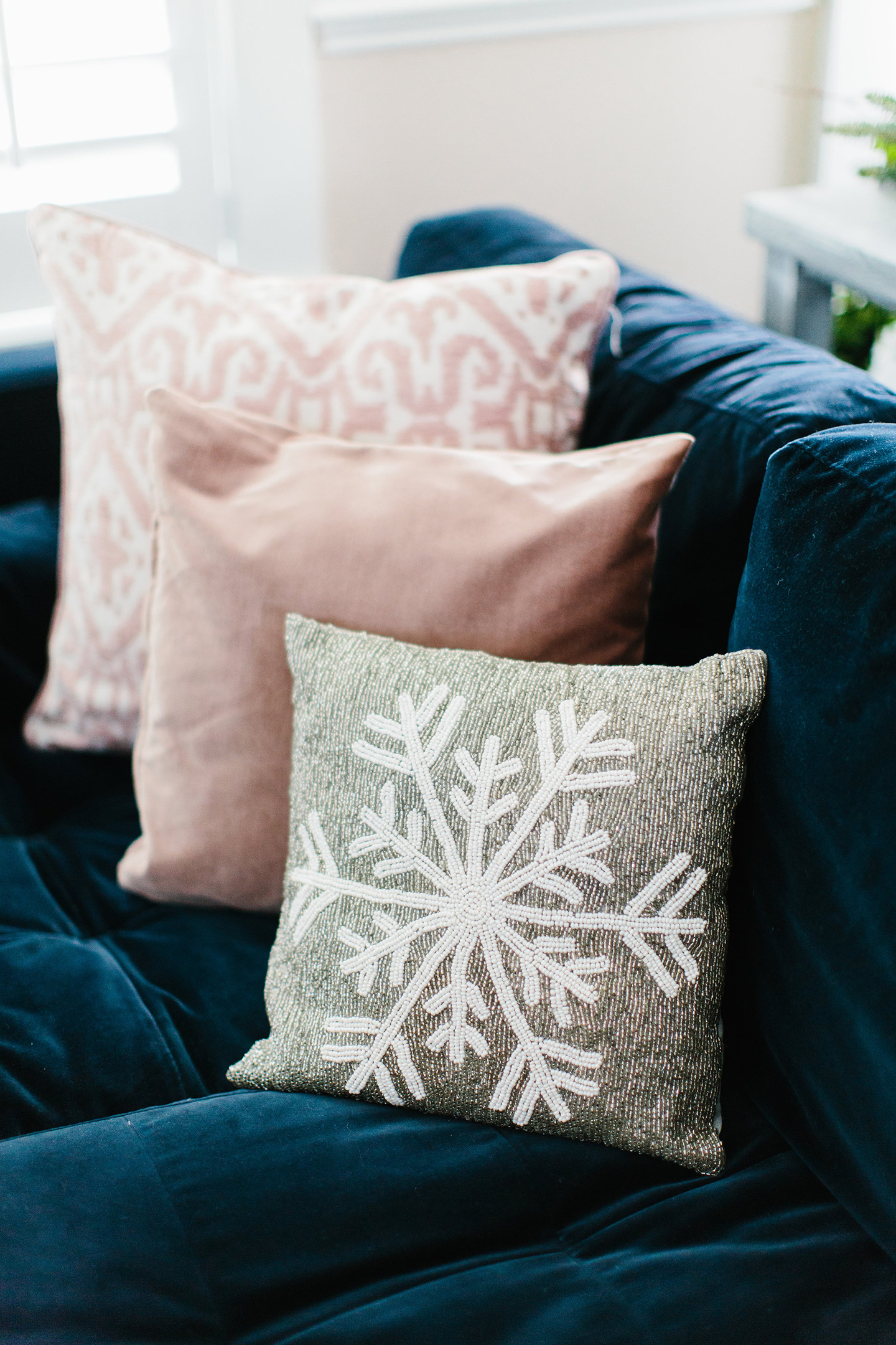 Beaded Snowflake Pillow