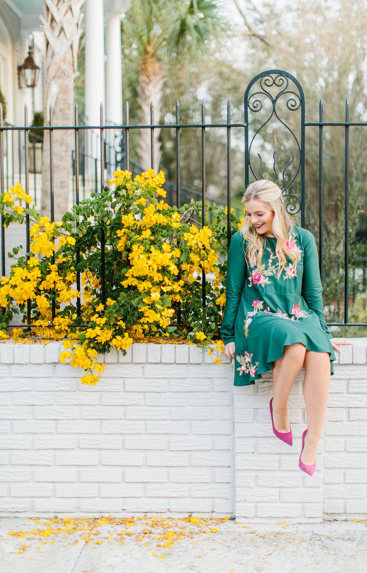 Embroidered Emerald Drop Waist Dress