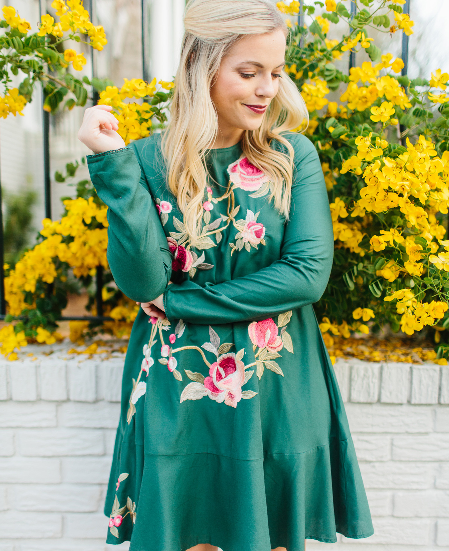 Embroidered Emerald Drop Waist Dress
