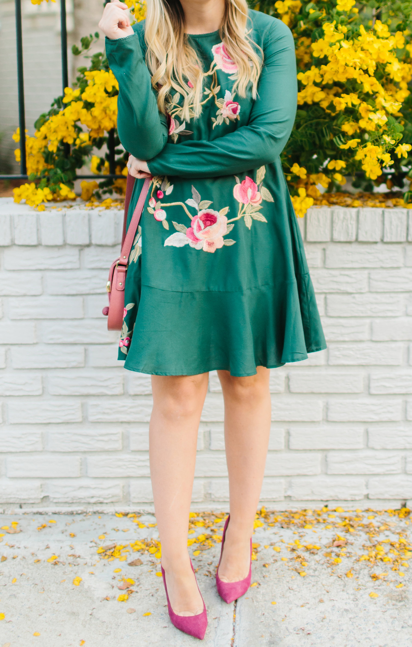 Embroidered Emerald Dress