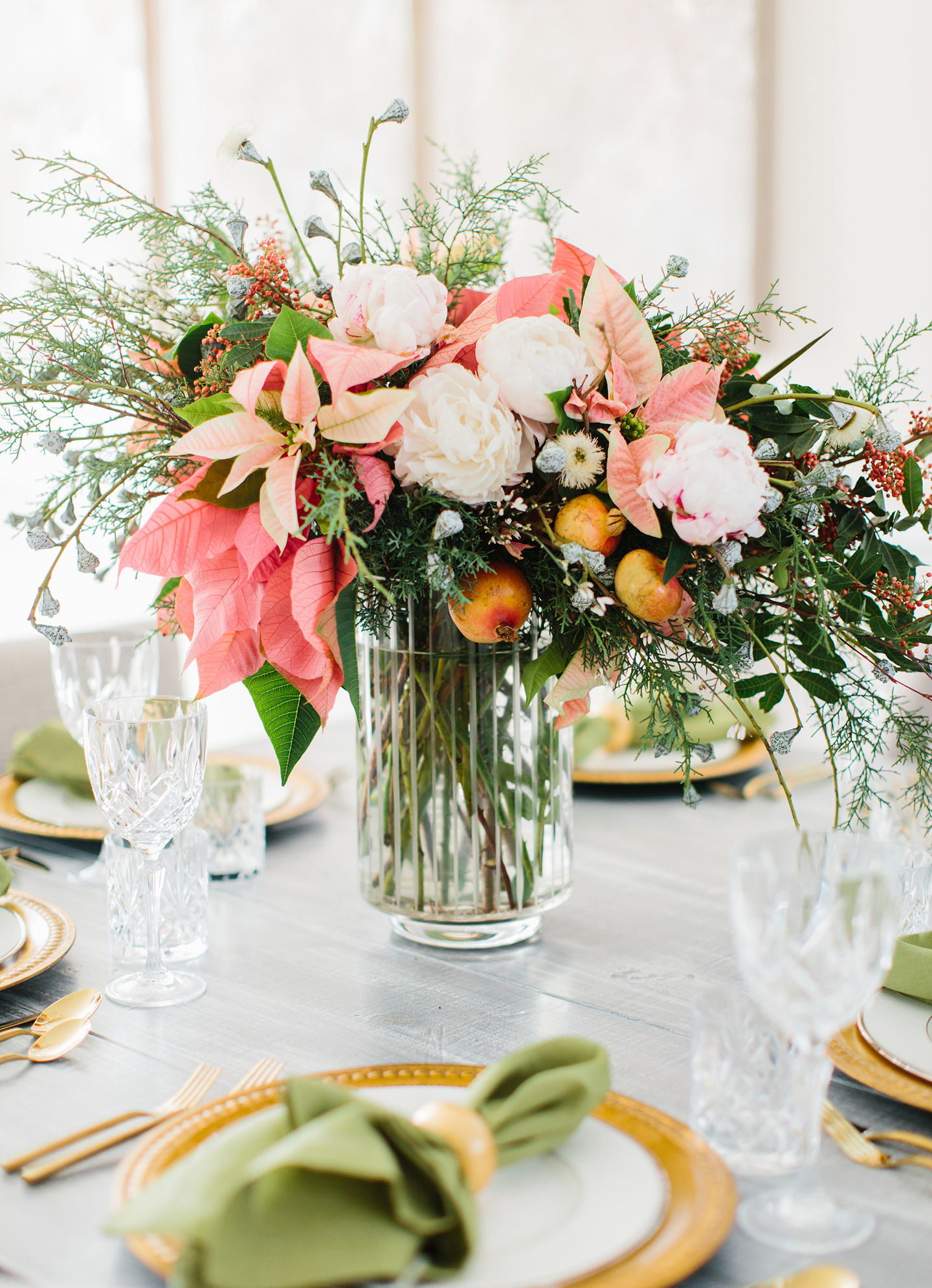 Holiday Tablescape | pink poinsettias + greenery