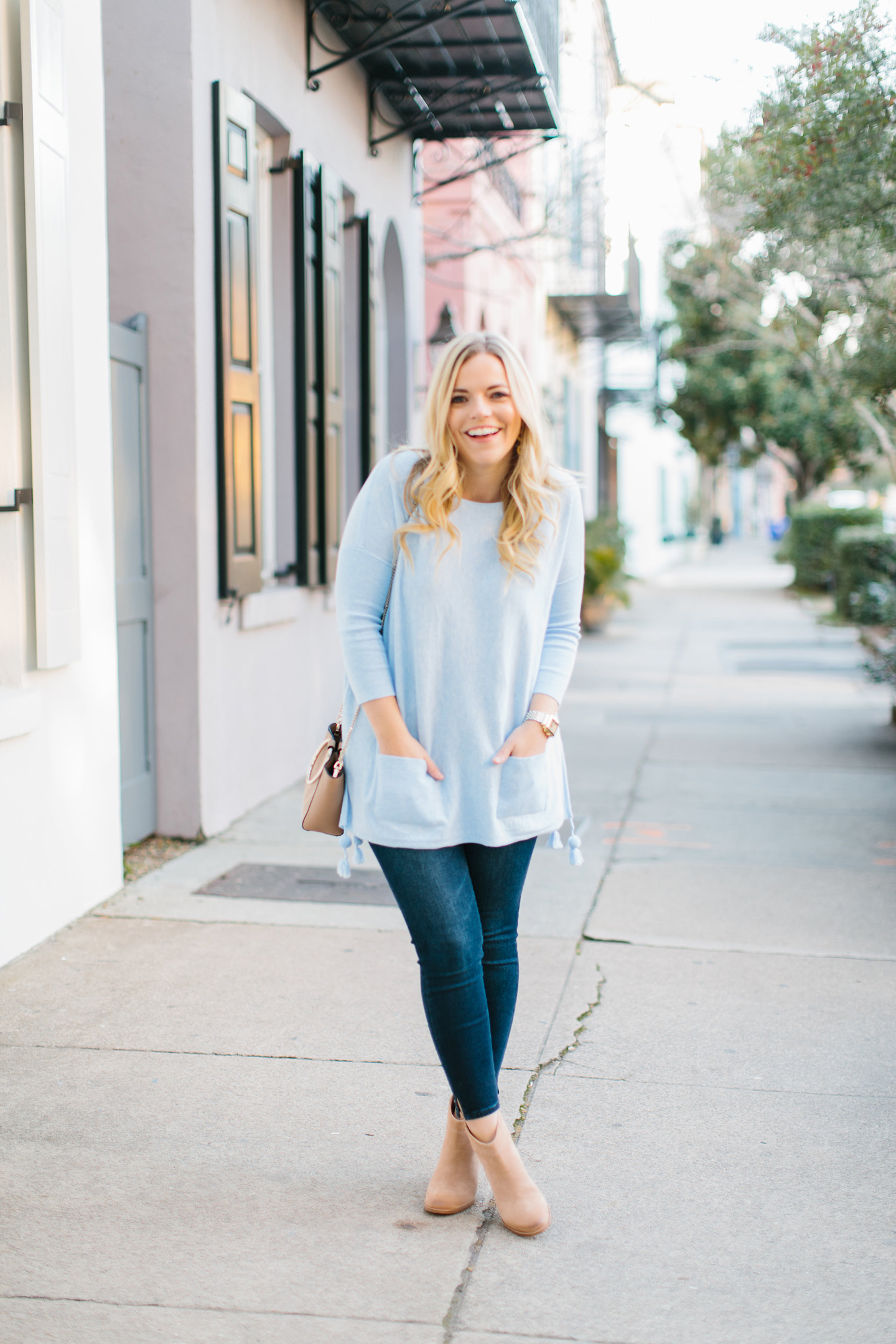 Pale Blue Pom Sweater