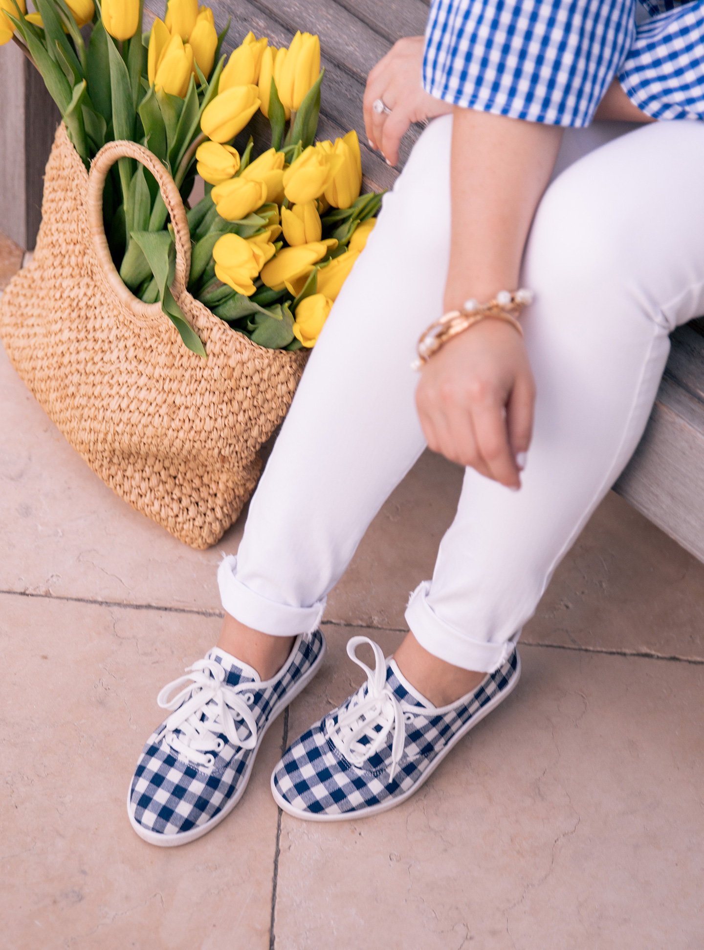 Blue Gingham Sneakers