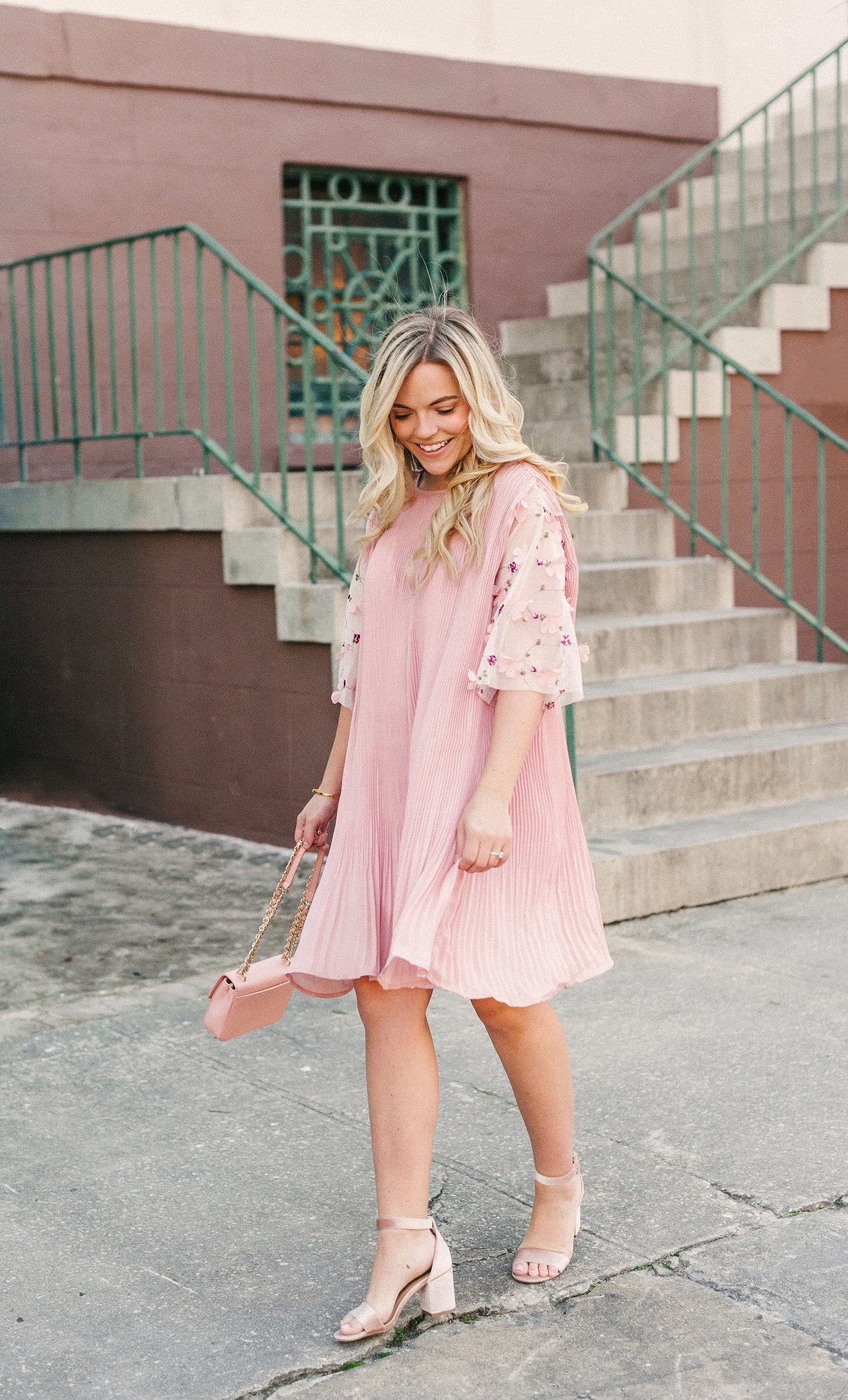 Pink Pleated Cape Dress