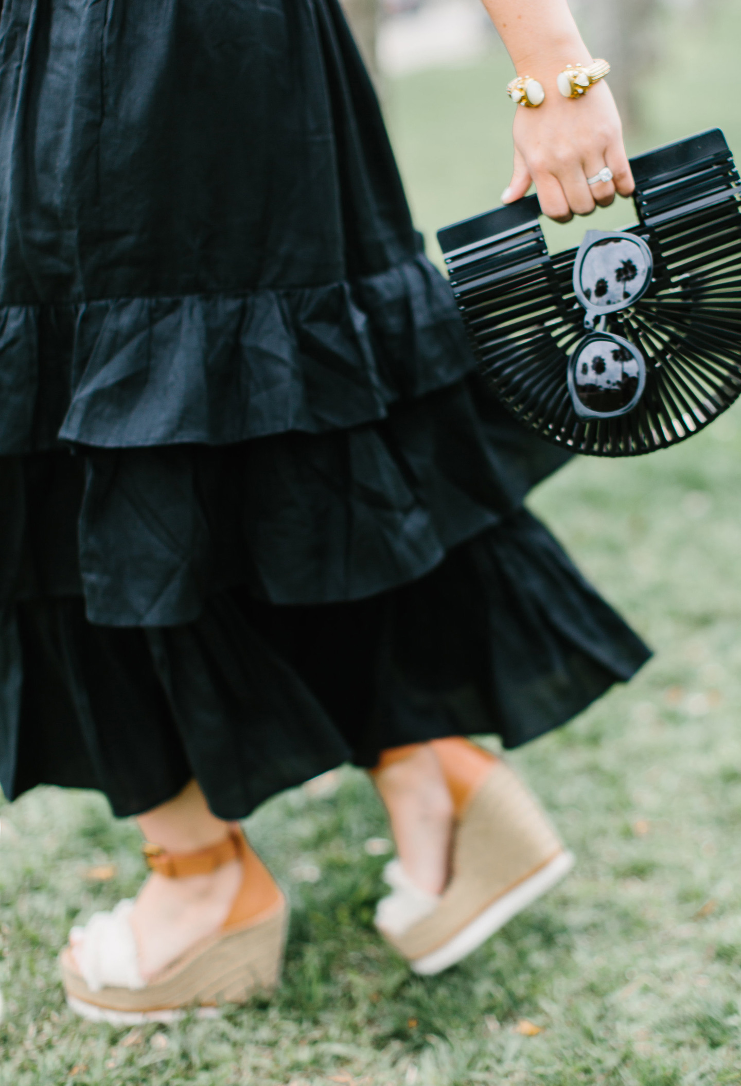 Black Tiered Sundress + Chloe Wedges