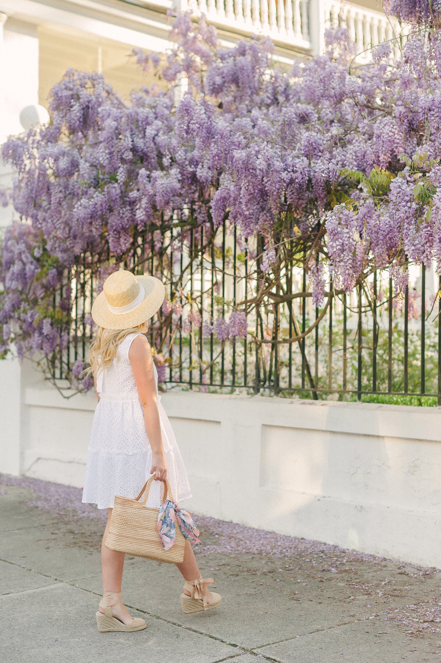White Eyelet Dress + Charleston Wisteria