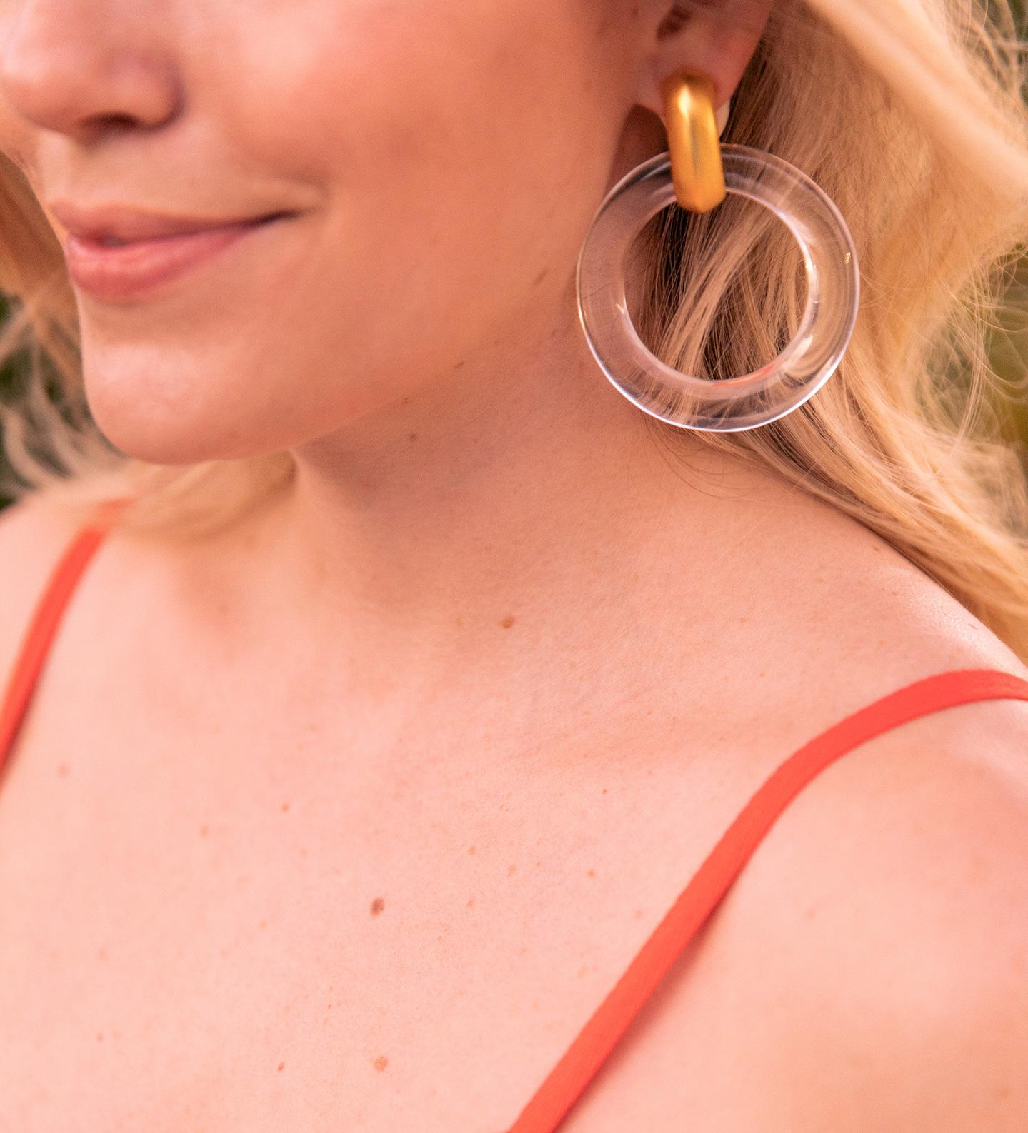 Kenneth Jay Lane Lucite Hoop Earrings