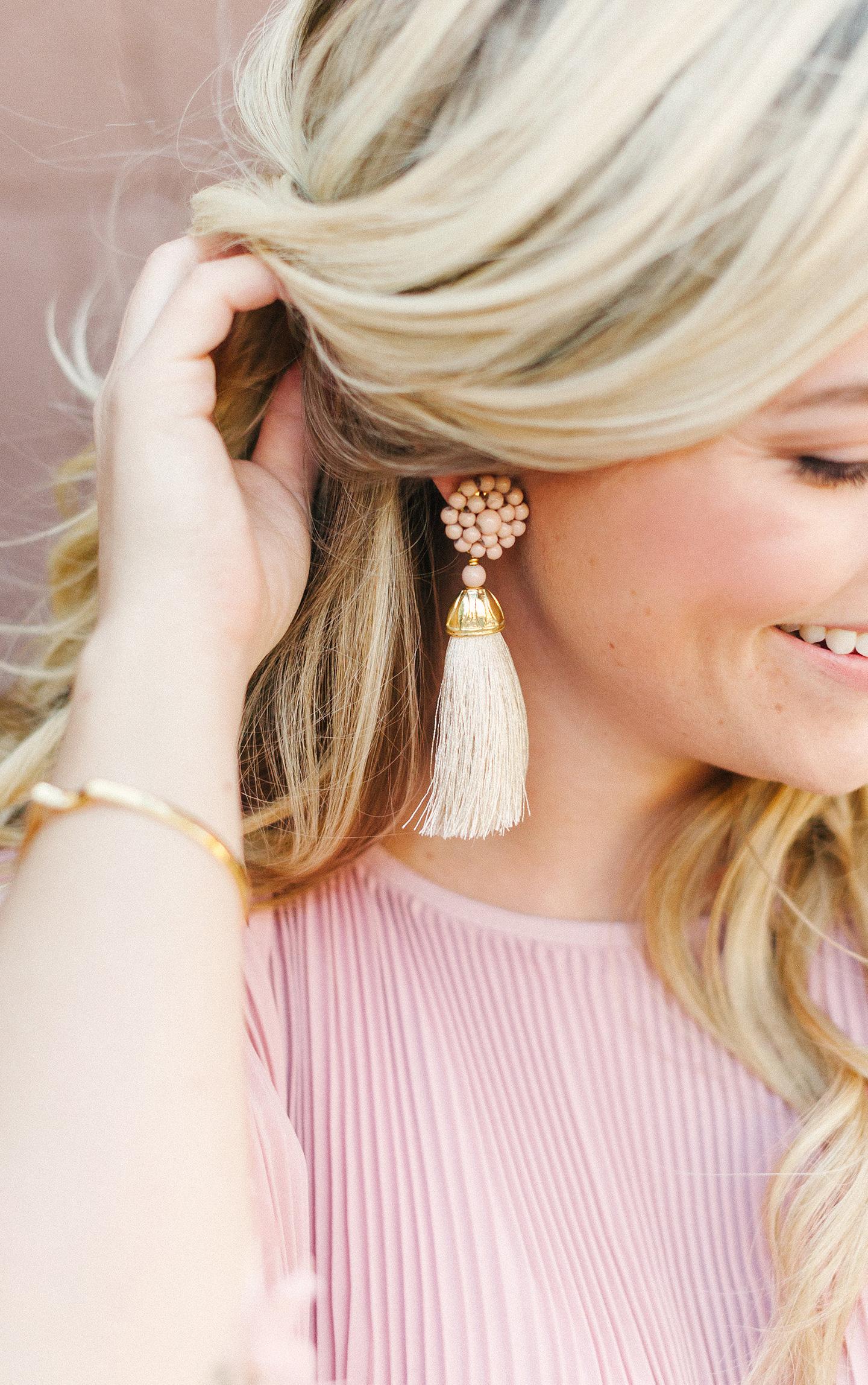 Pale Pink Tassel Earring