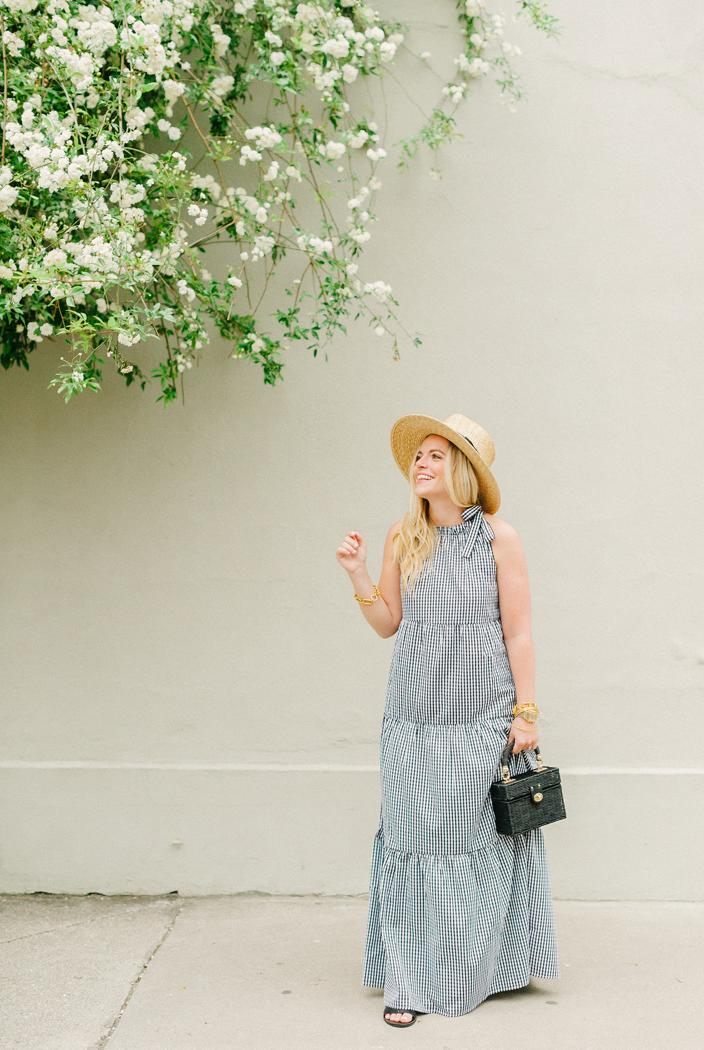 Black Gingham Maxi Dress