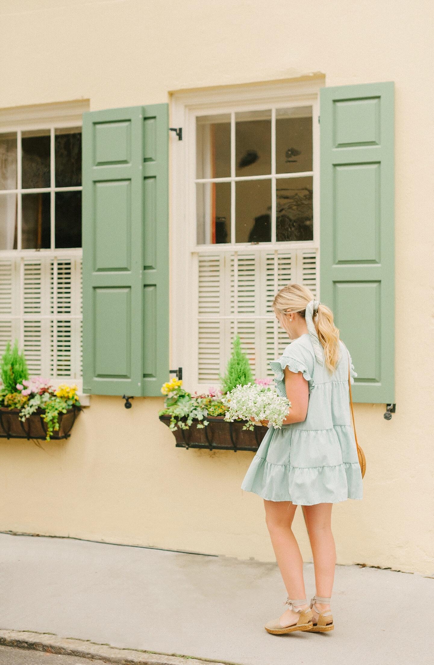 Green Stripe Mini Dress