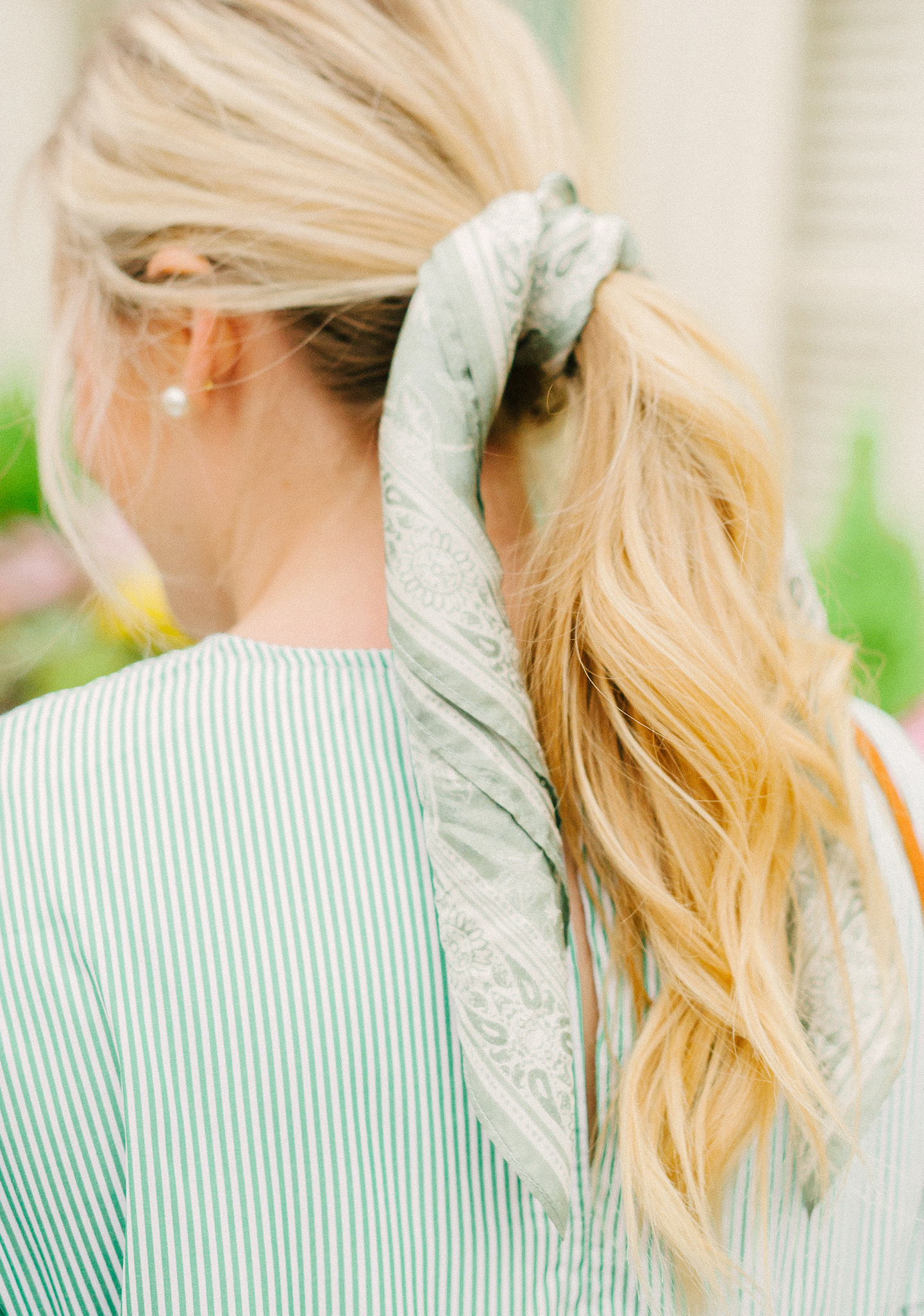 Green Ruffle Stripe Mini Dress