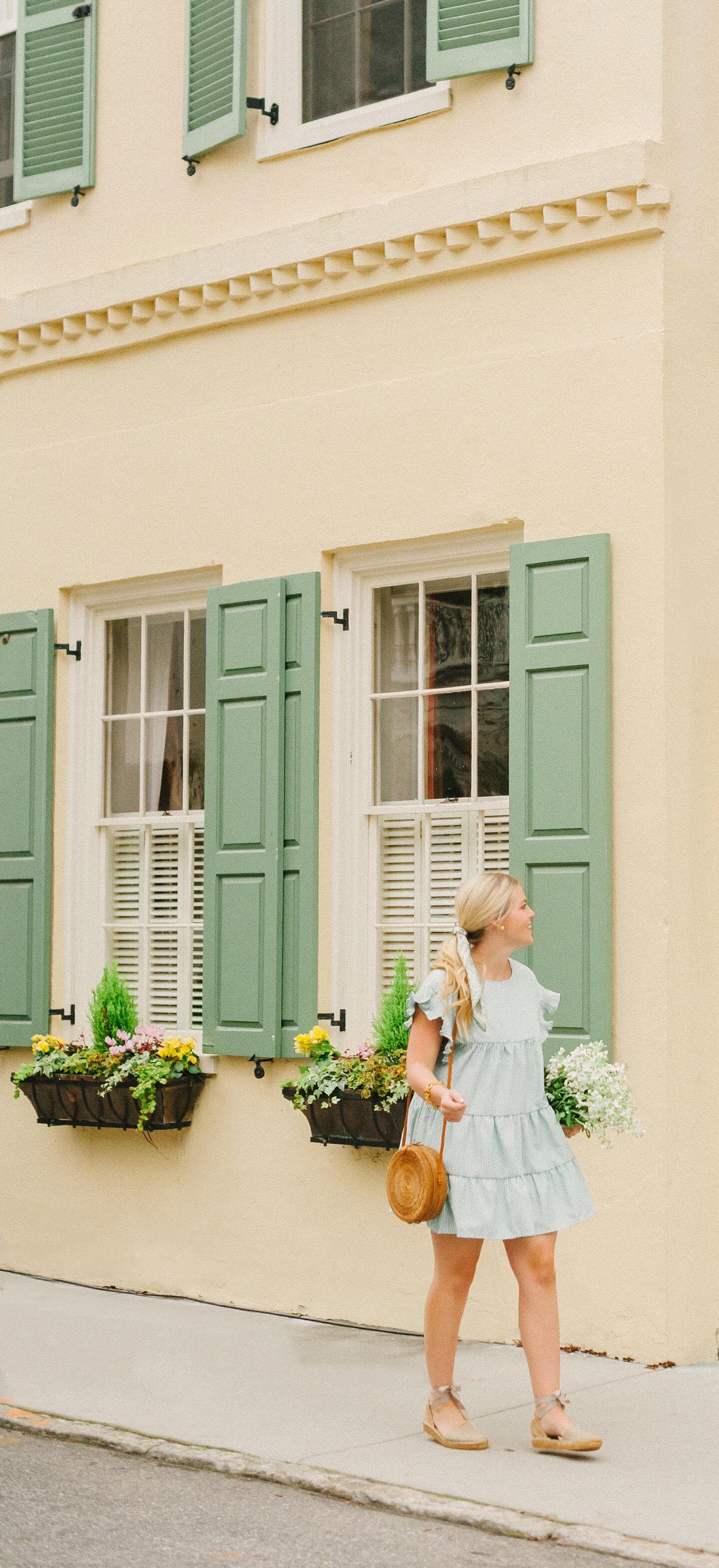 Green Stripe Ruffle Mini Dress
