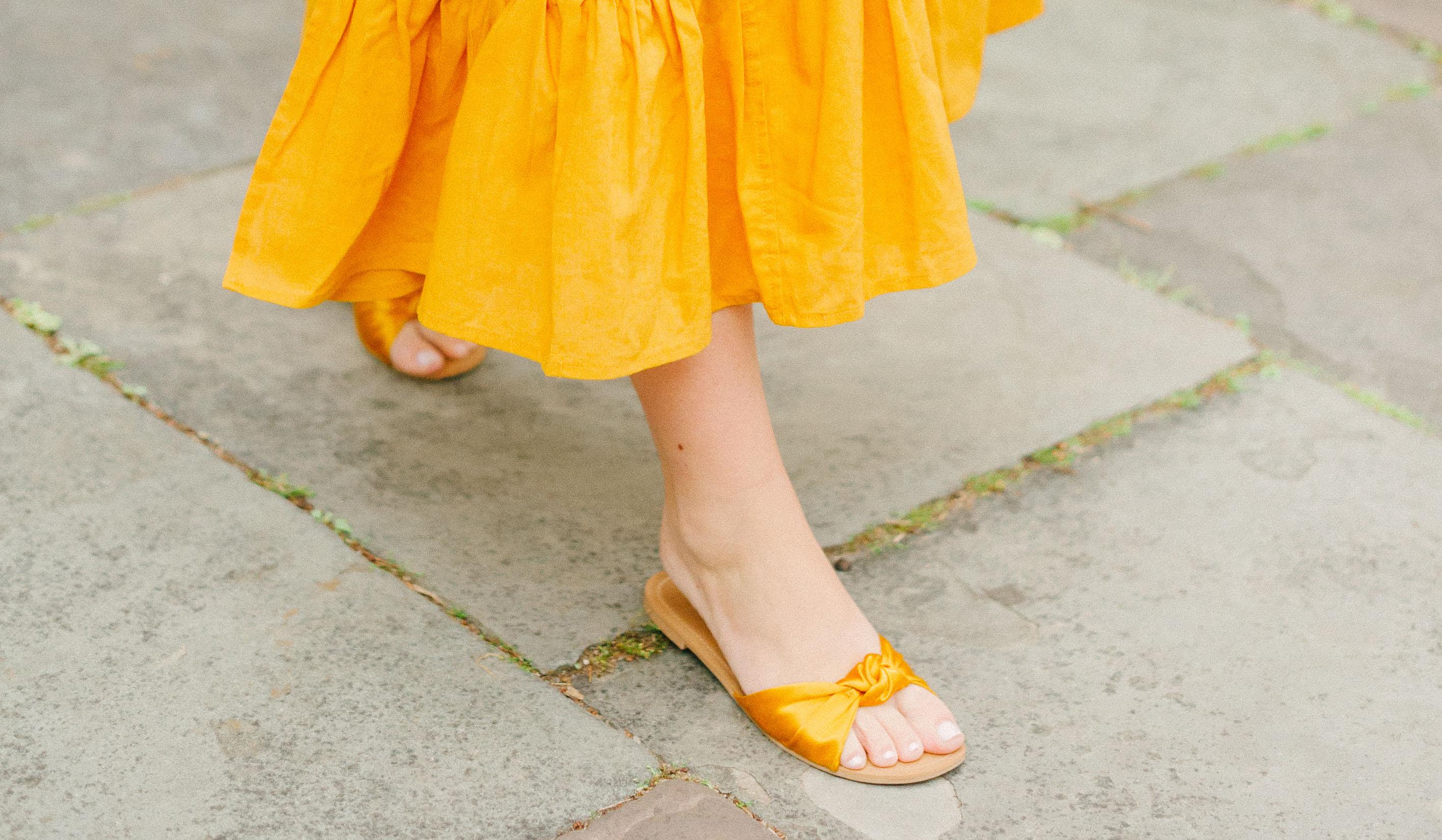 Mustard Satin Slides