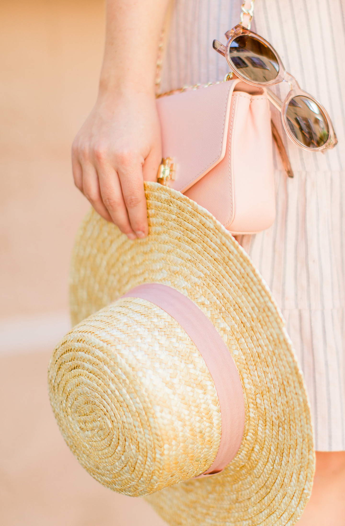 Pink Ribbon Straw Hat