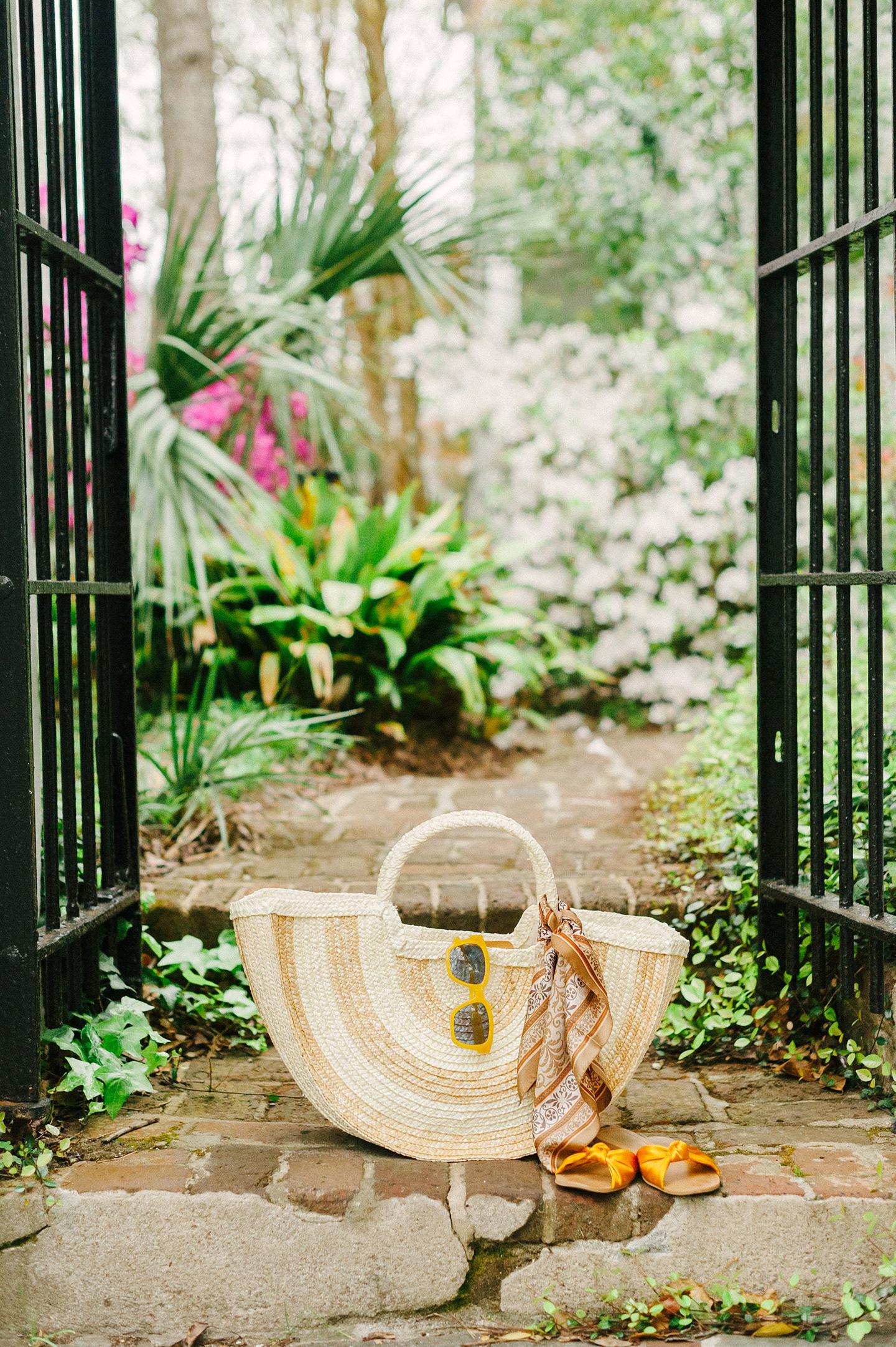 Oversized Stripe Basket Handbag