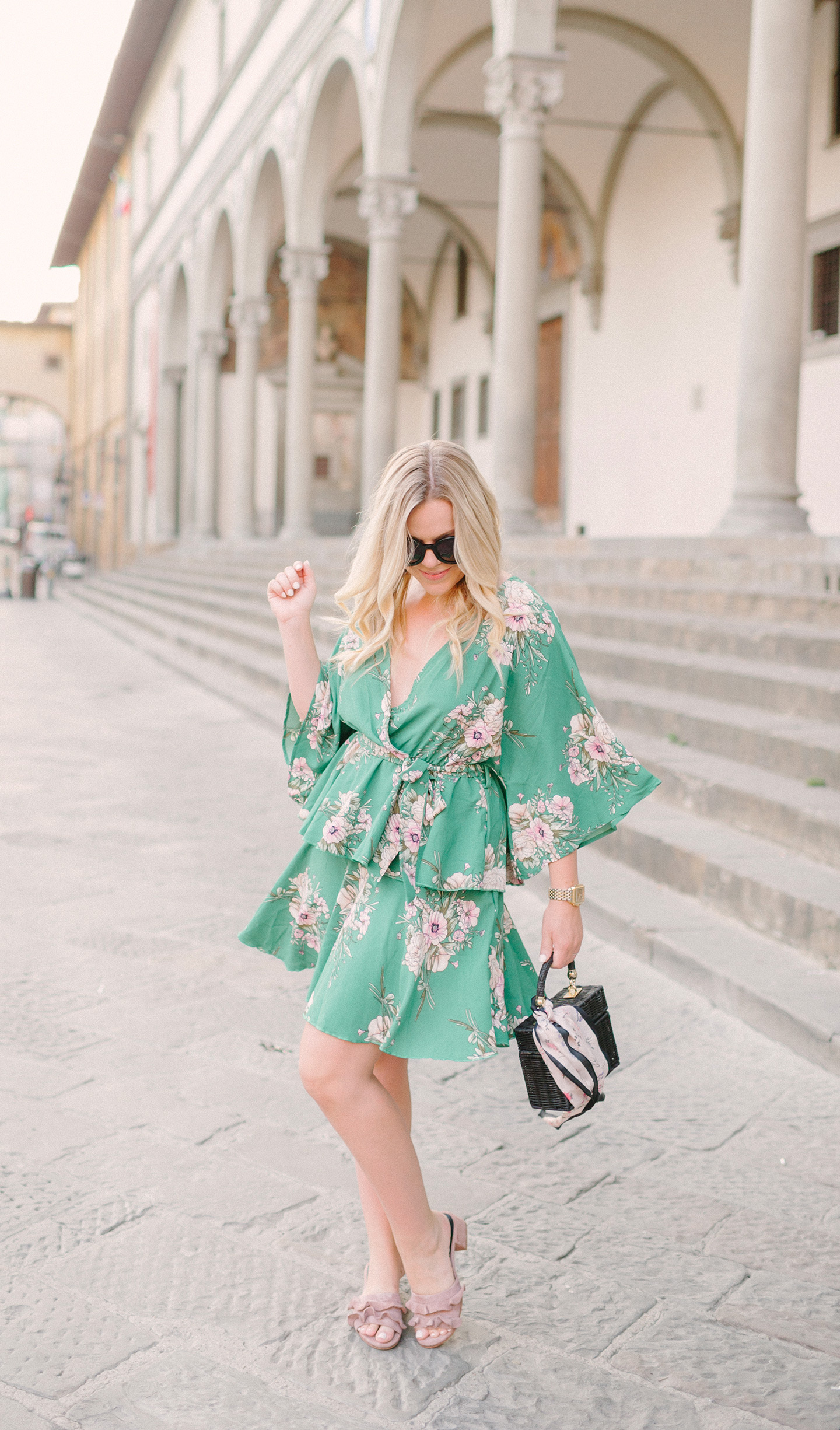 Green Floral Kimono Dress in Florence, Italy