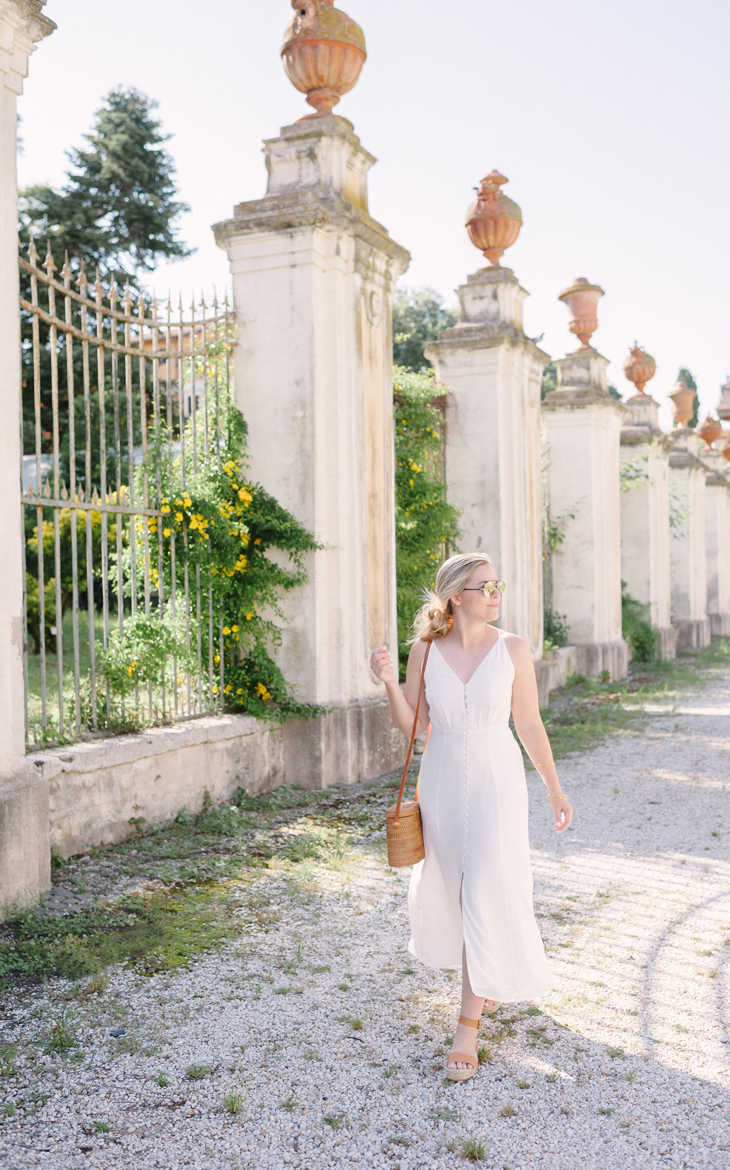 White Button Up Dress in Rome