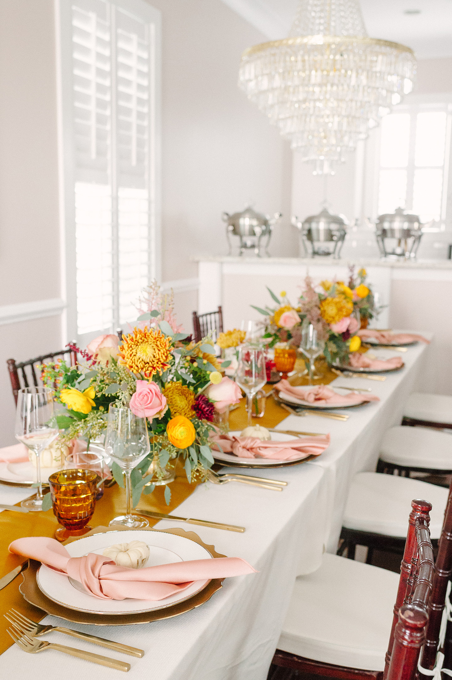 Mauve + Mustard Thanksgiving Tablescape   COLOR by K