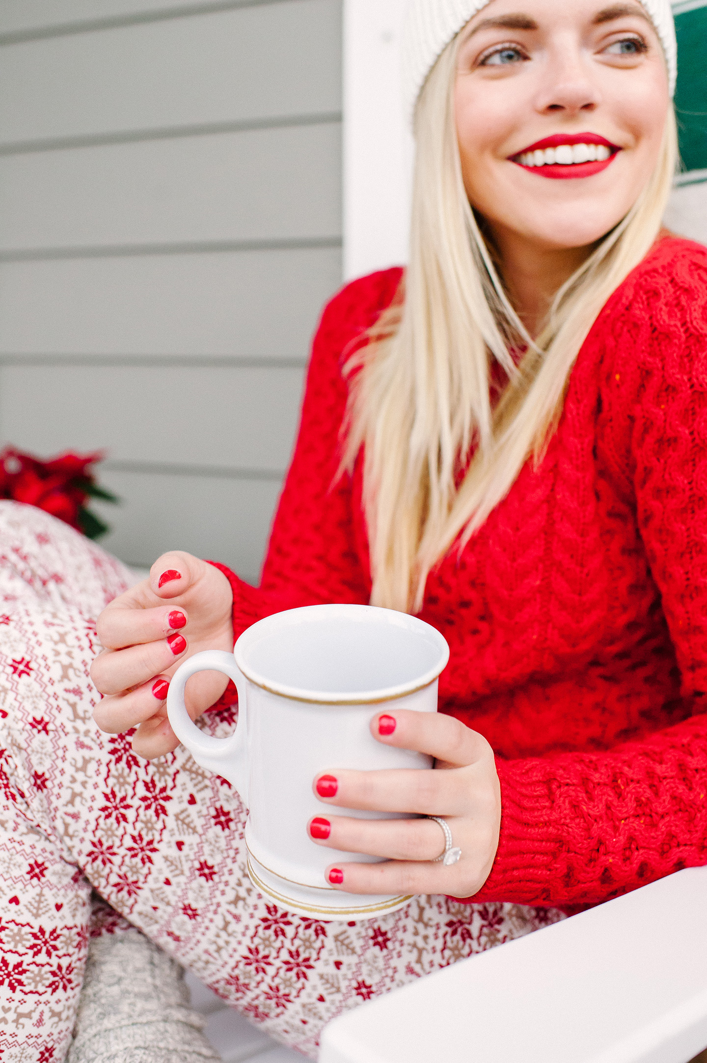 Red Cable Knit Sweater + Fairisle Leggings | COLOR by K