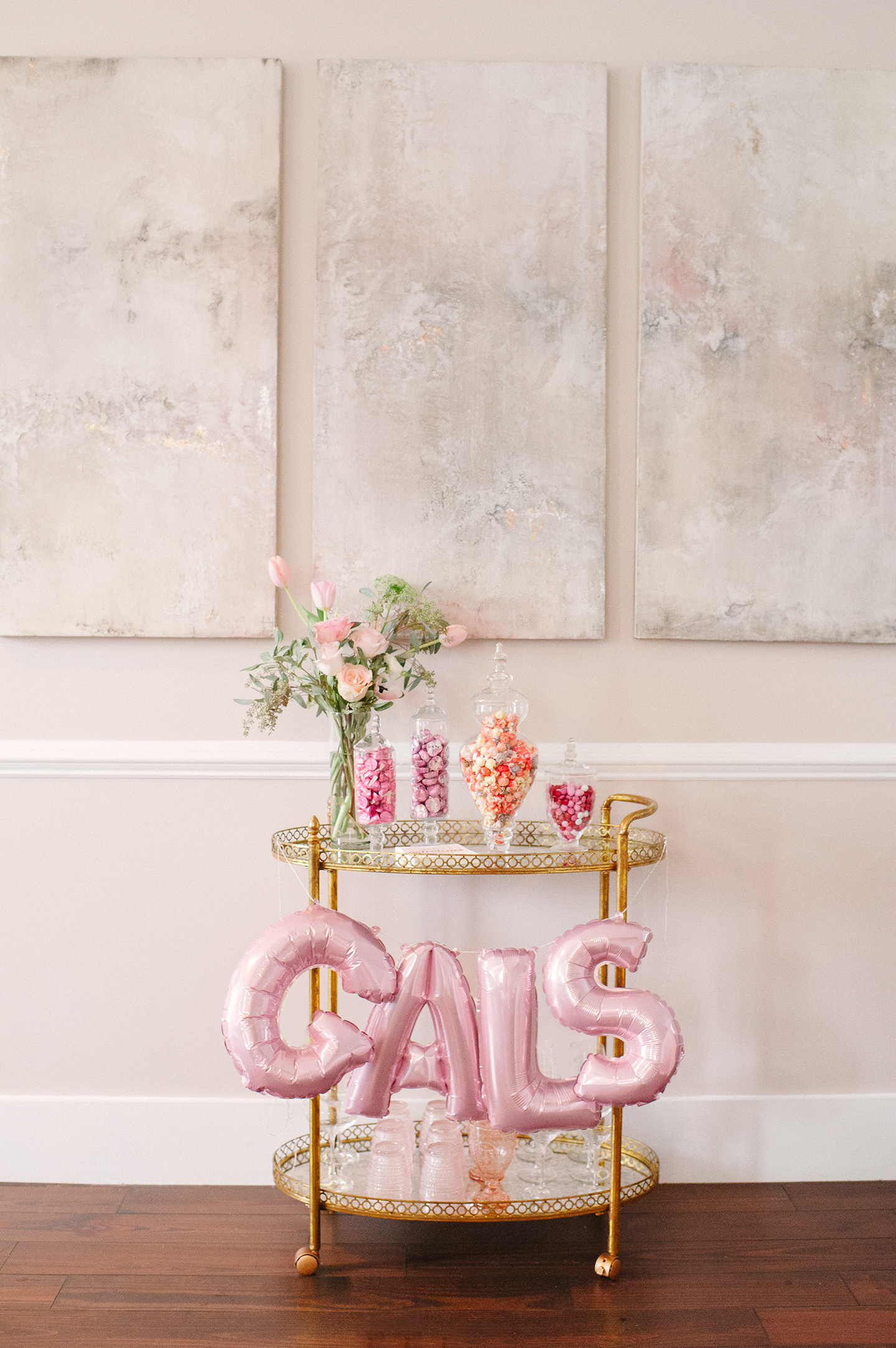 Galentines Brunch Candy Bar Cart