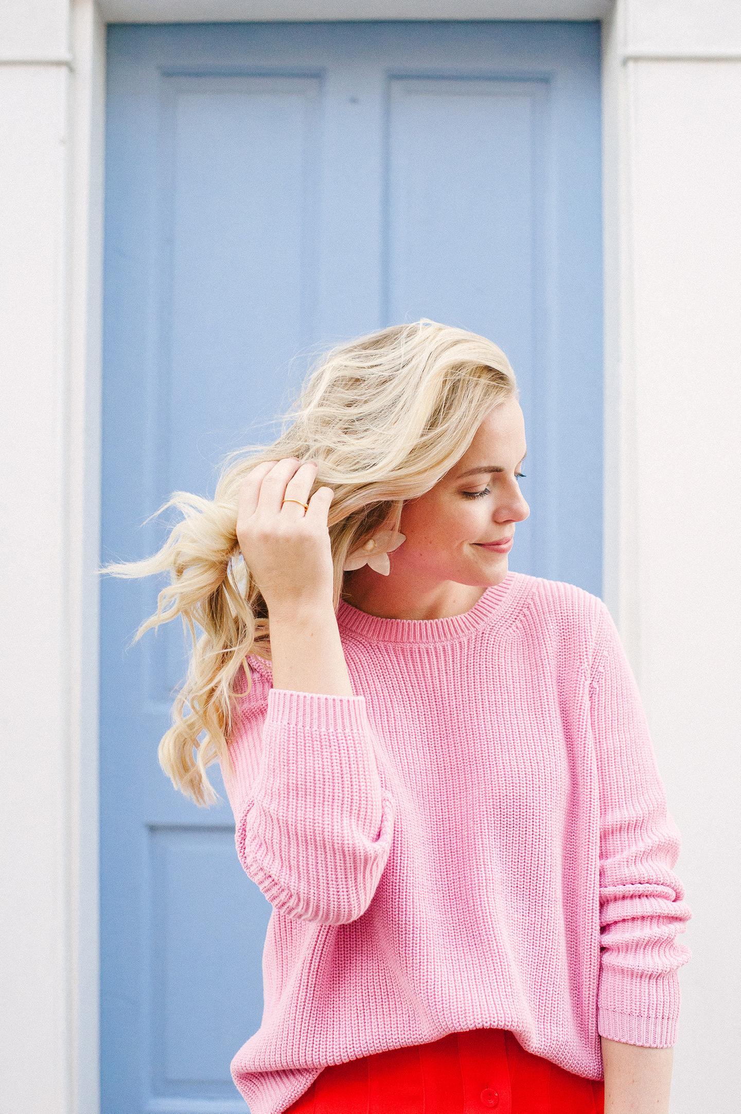 Pink Sweater + Flower Earrings | COLOR by K