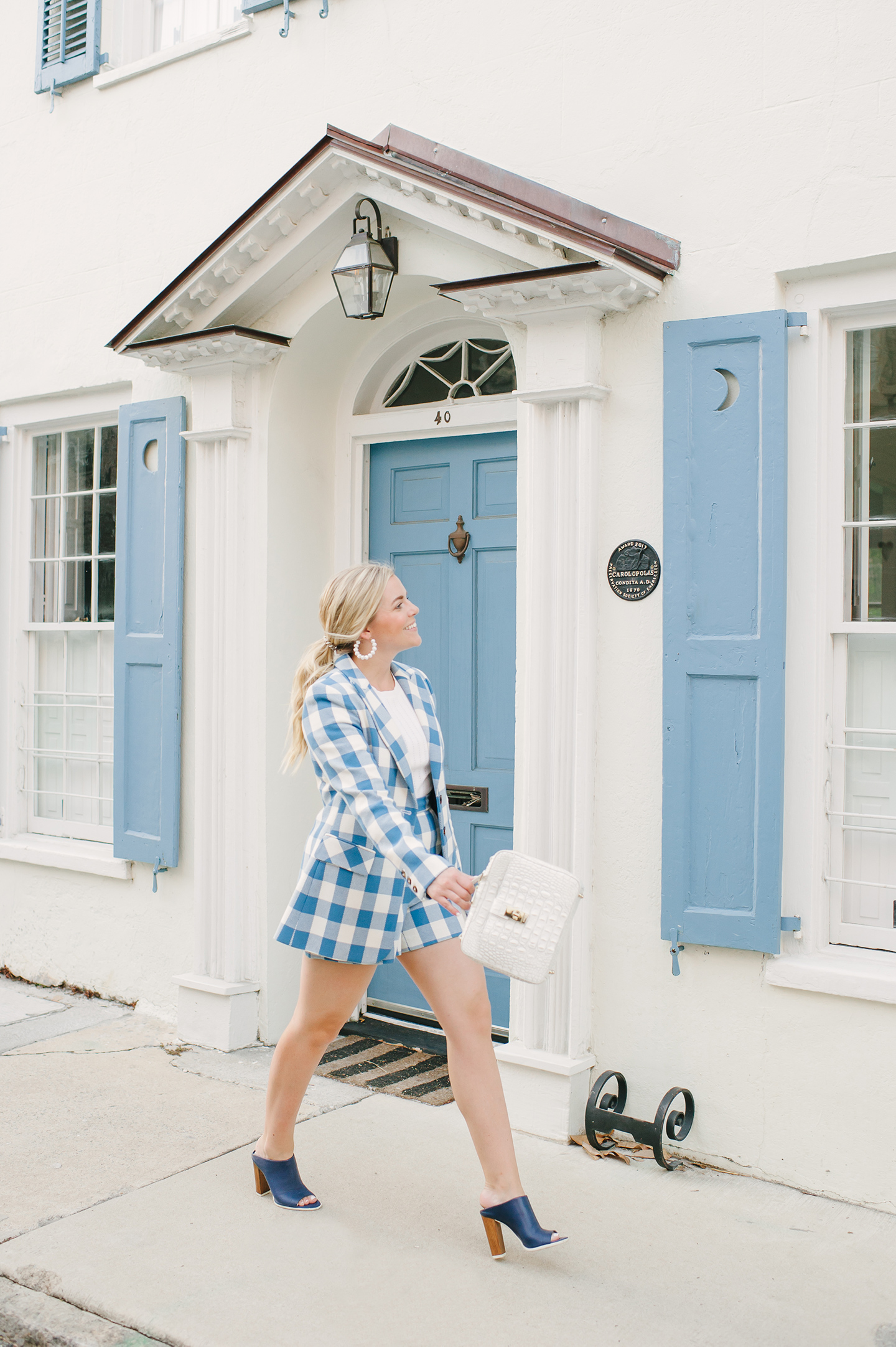Blue + White Check Short Suit   COLOR by K