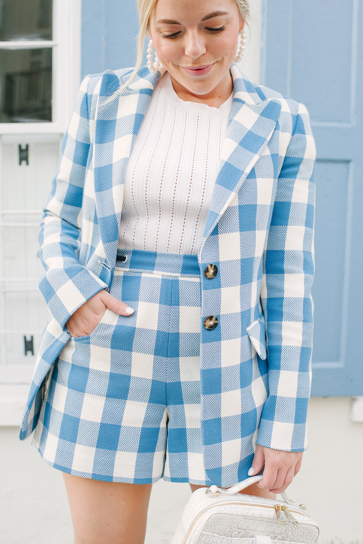 Blue + White Checkered Shorts + Blazer   COLOR by K