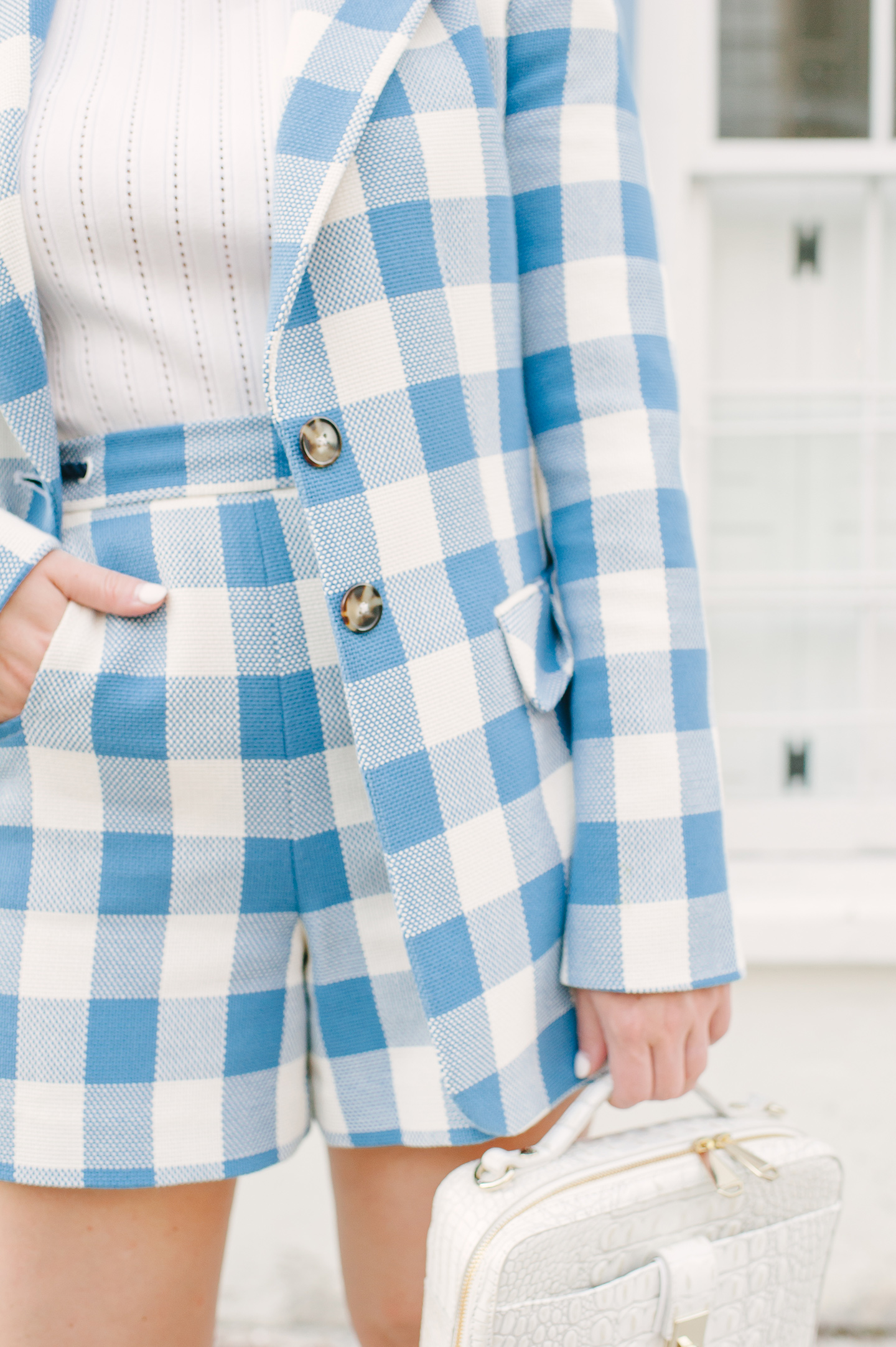 Blue + White Checkered Shorts   COLOR by K
