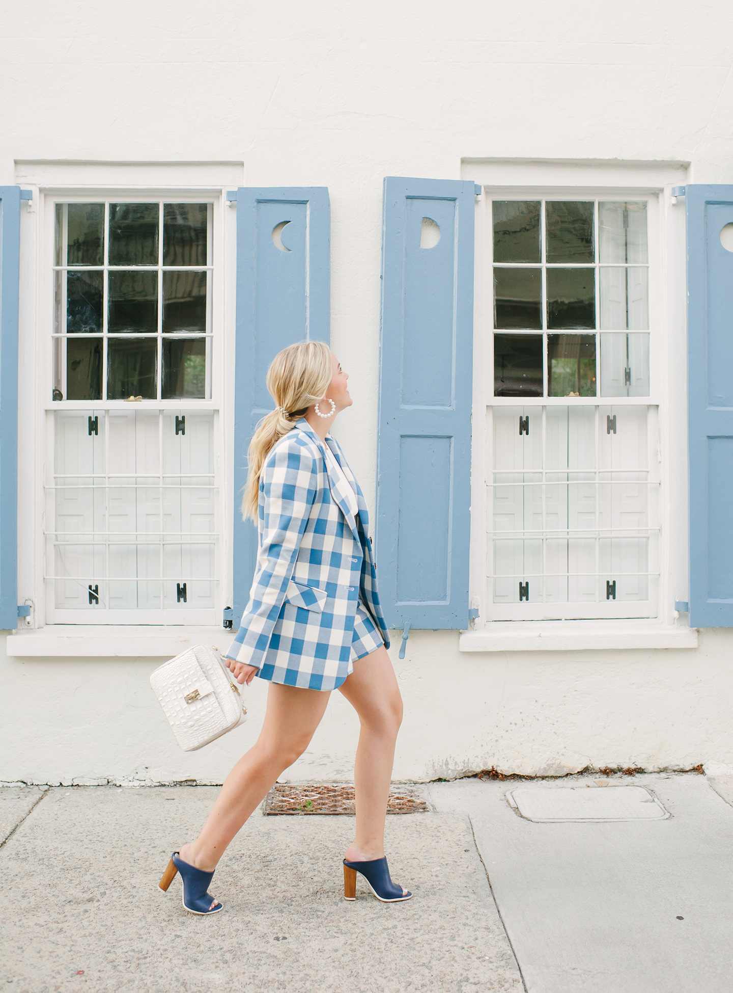 Blue + White Checkered Shorts + Blazer