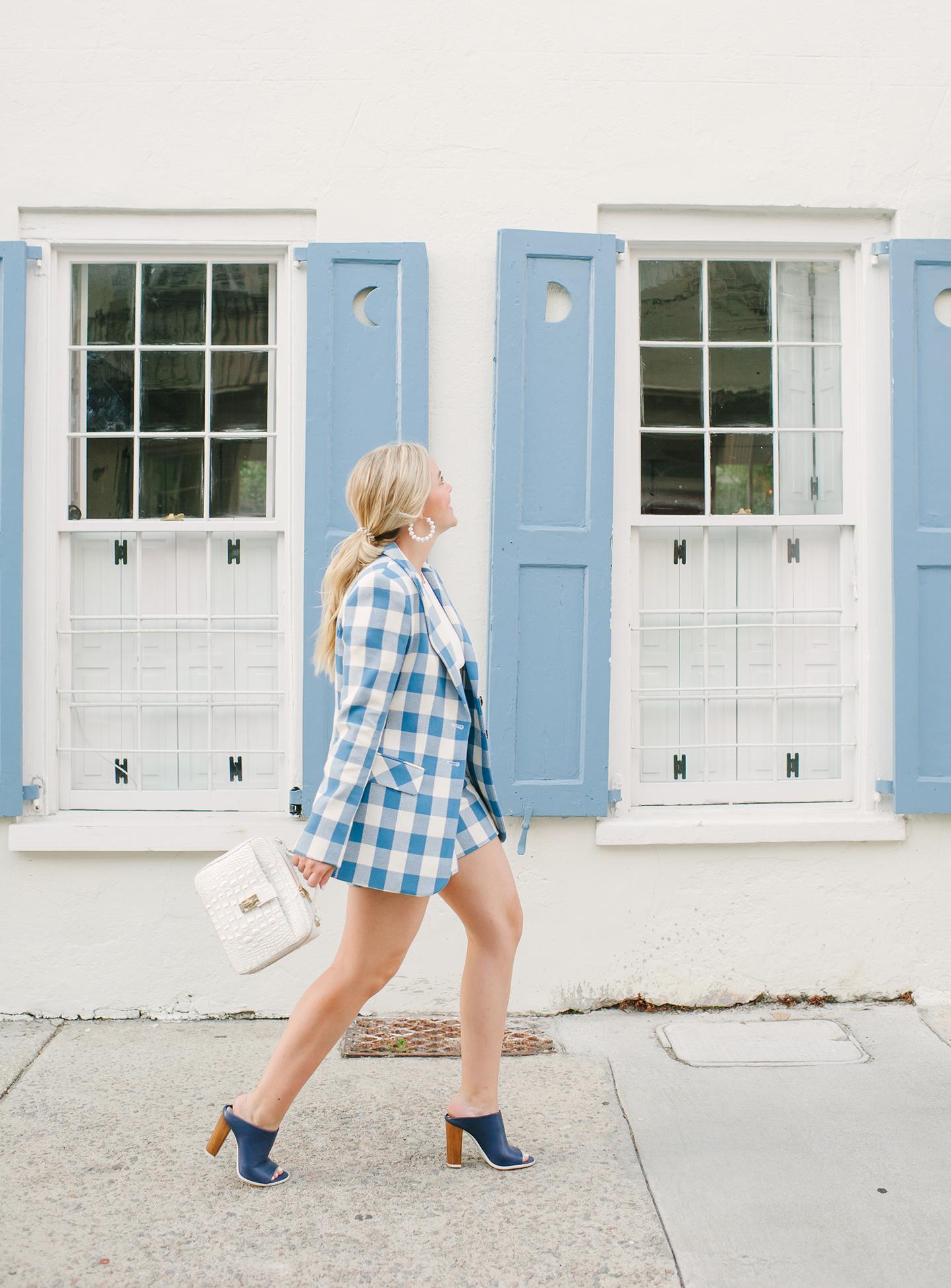 Blue + White Checkered Shorts + Blazer