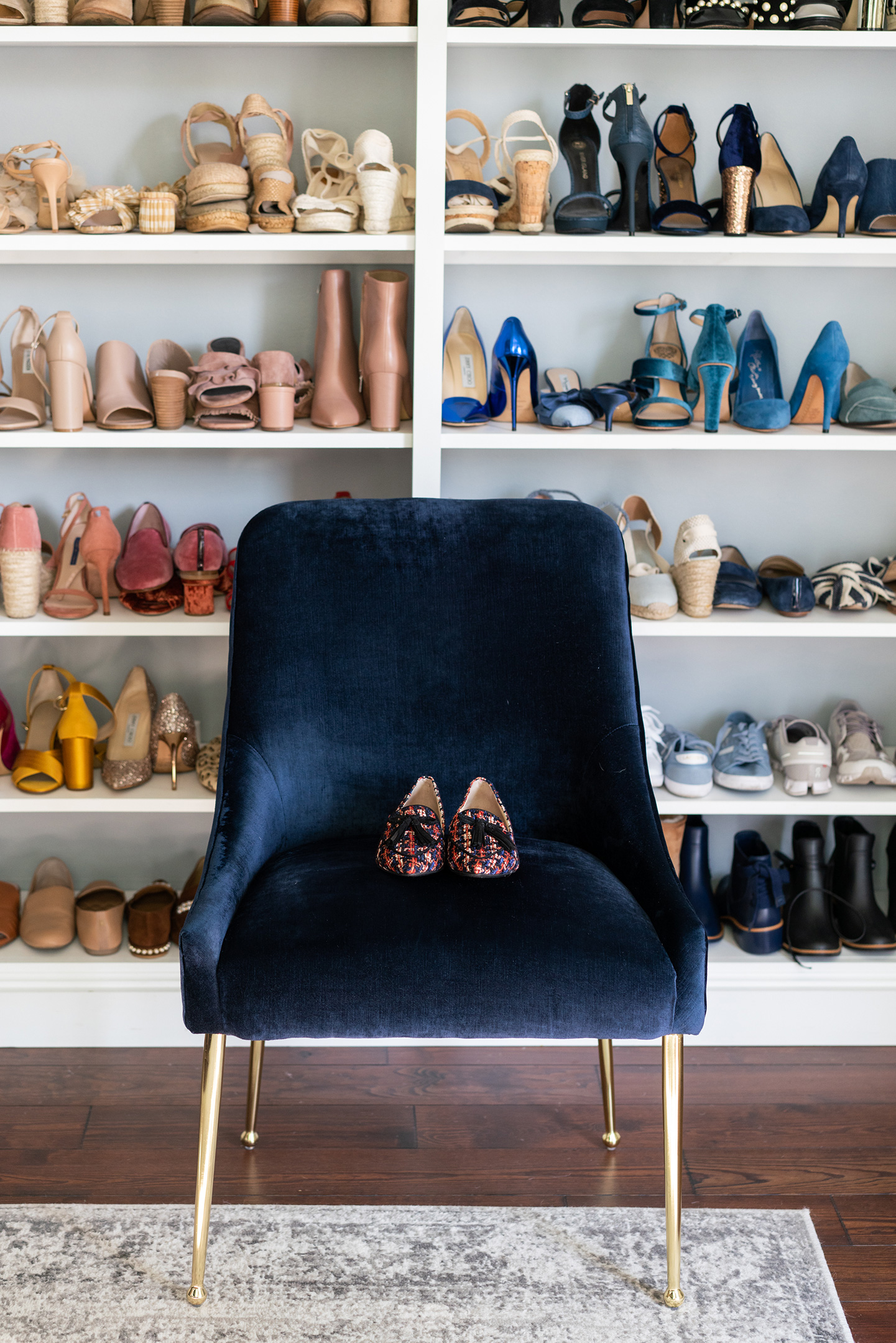Blue Velvet Chair + Shoe Wall