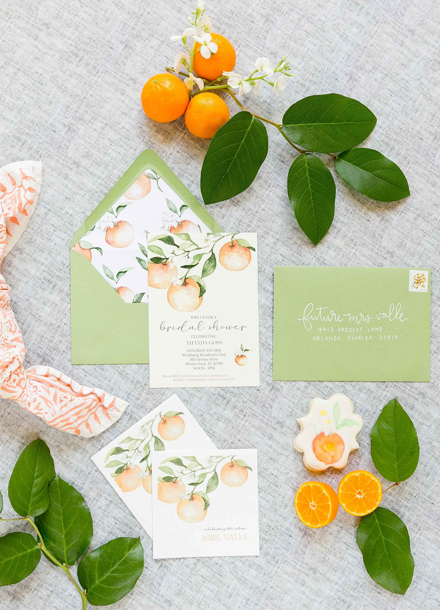 Citrus Bridal Shower Invitation Suite