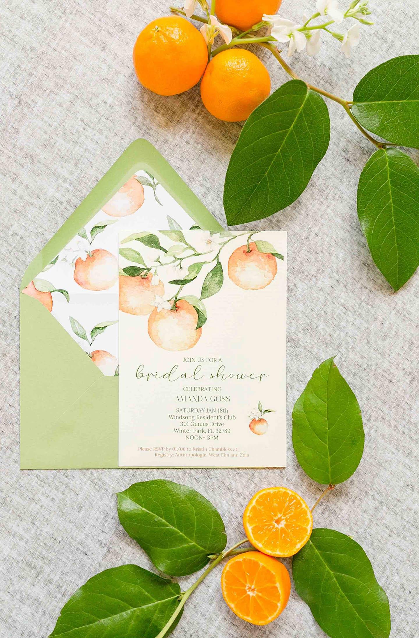 Citrus Bridal Shower Invitation Suite