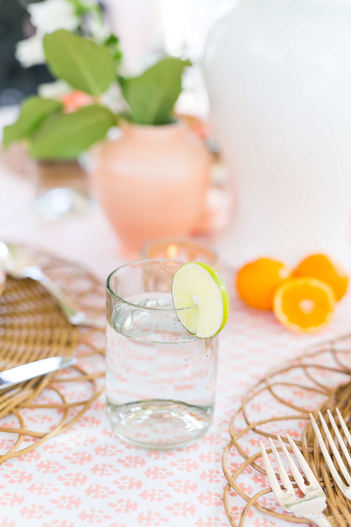 Vintage Water Tumbler + Lime Slice