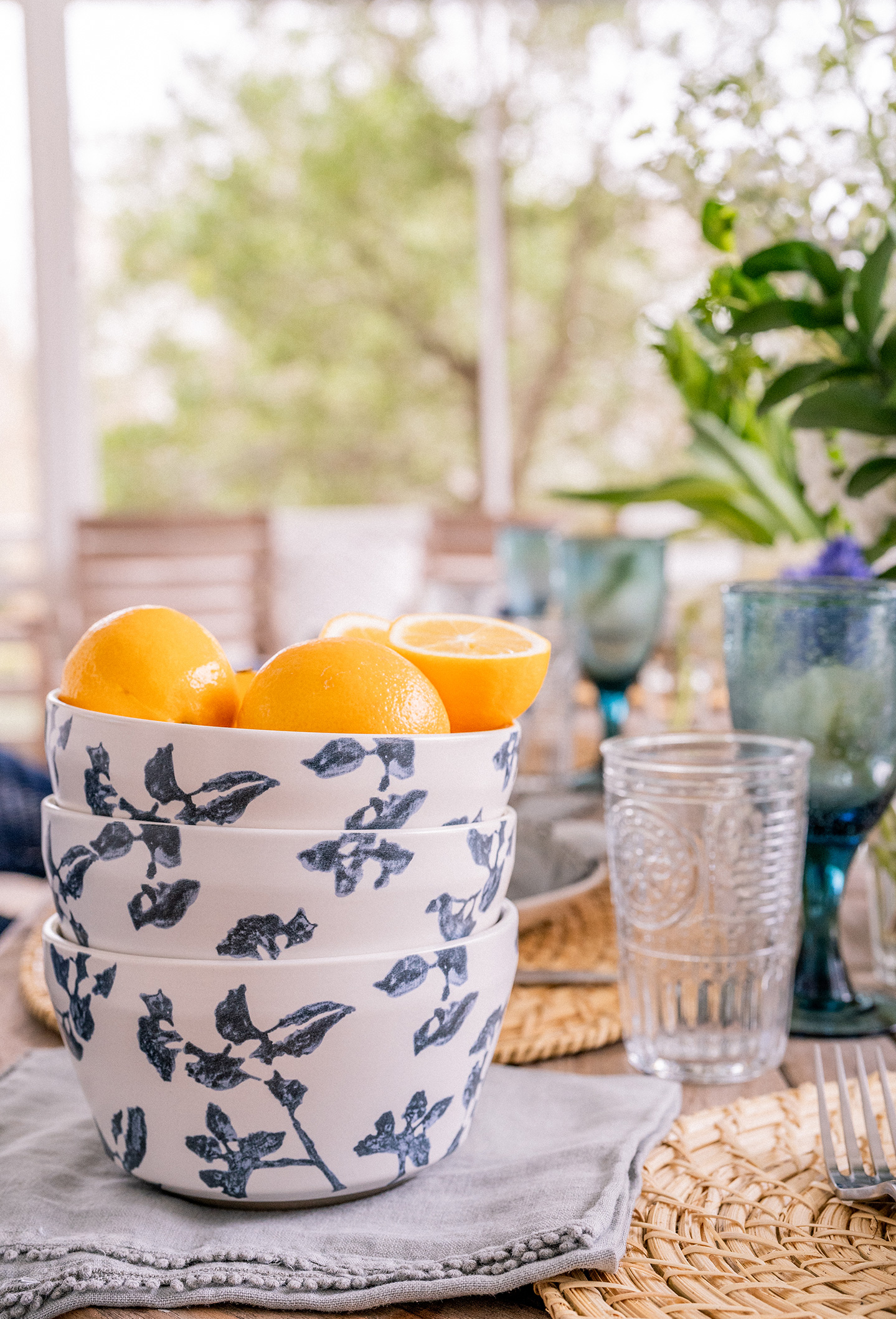 Navy Floral Bowl of Oranges
