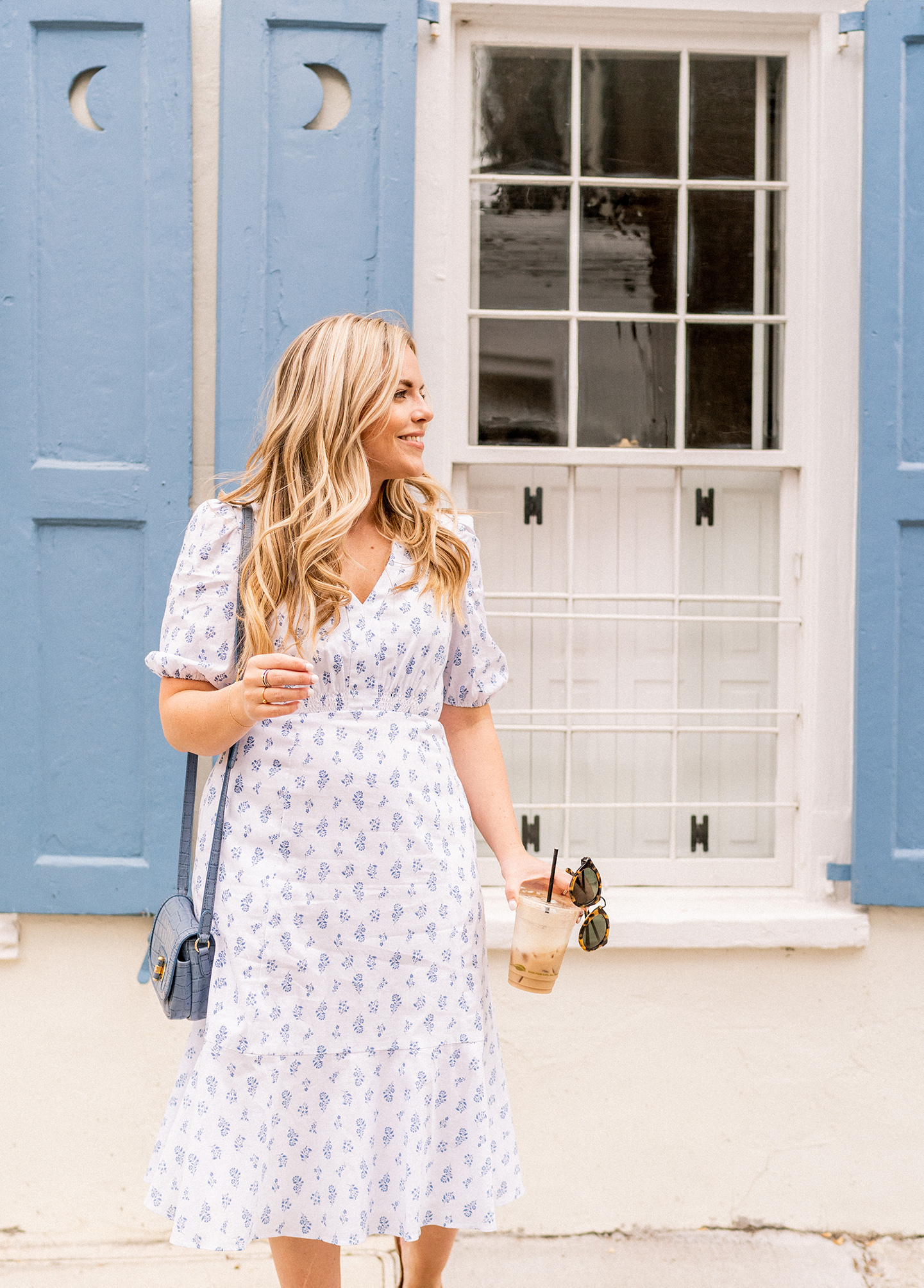 Easy Everyday Blue + White Floral Dress