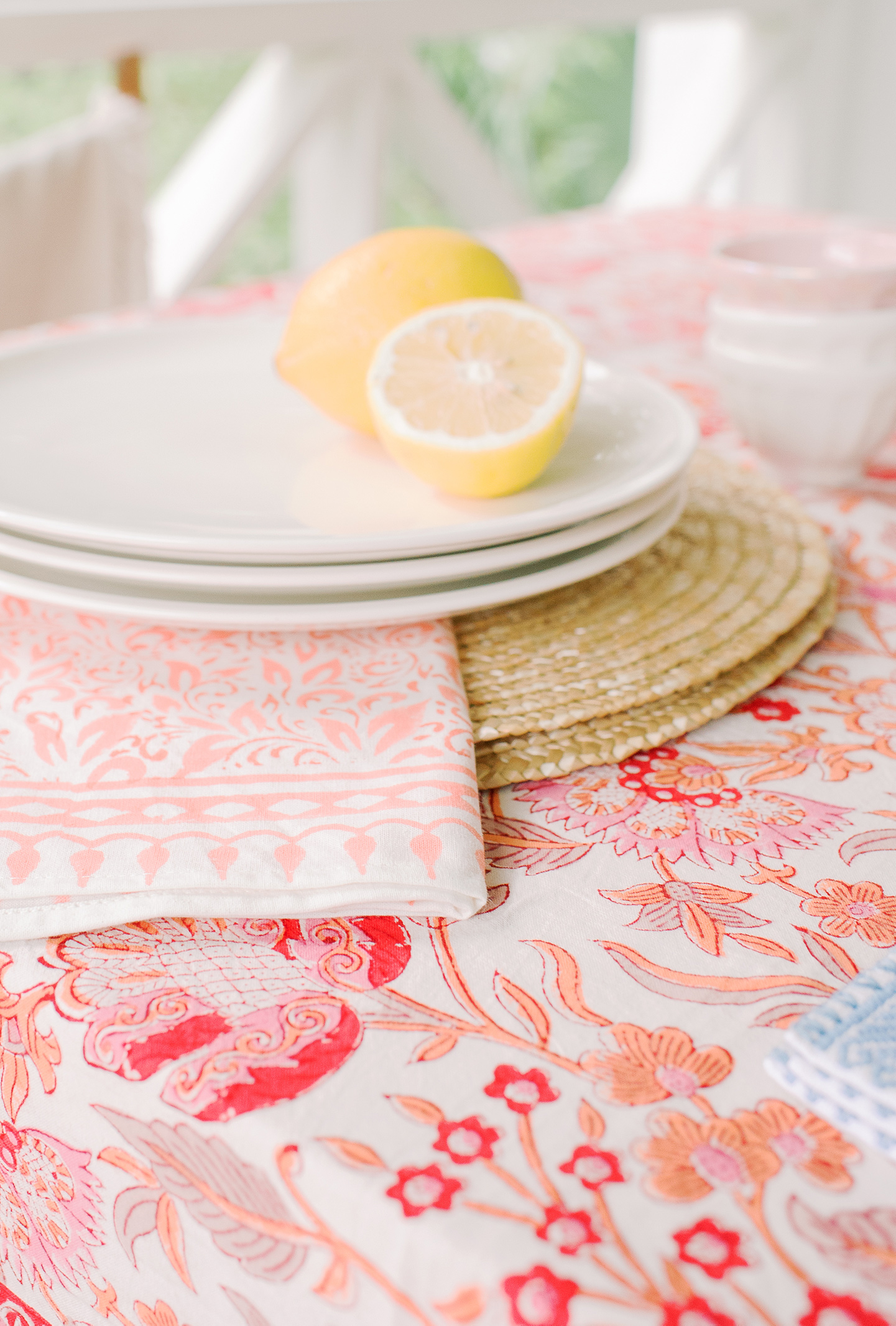 Woven Placemat + Coral Patterned Linen Tablecloth