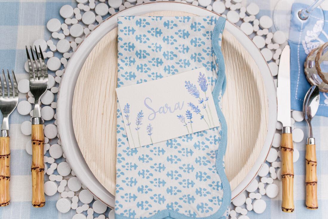 Nantucket Garden Tablescape | Blue + White Block Print Napkins