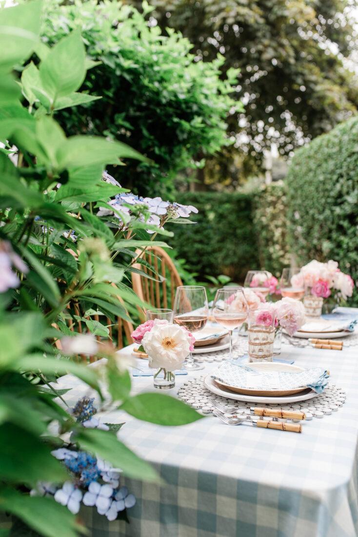 Nantucket Garden Tablescape | Blue Checkered Tablecloth, Bamboo Flatware, Block Print Napkins