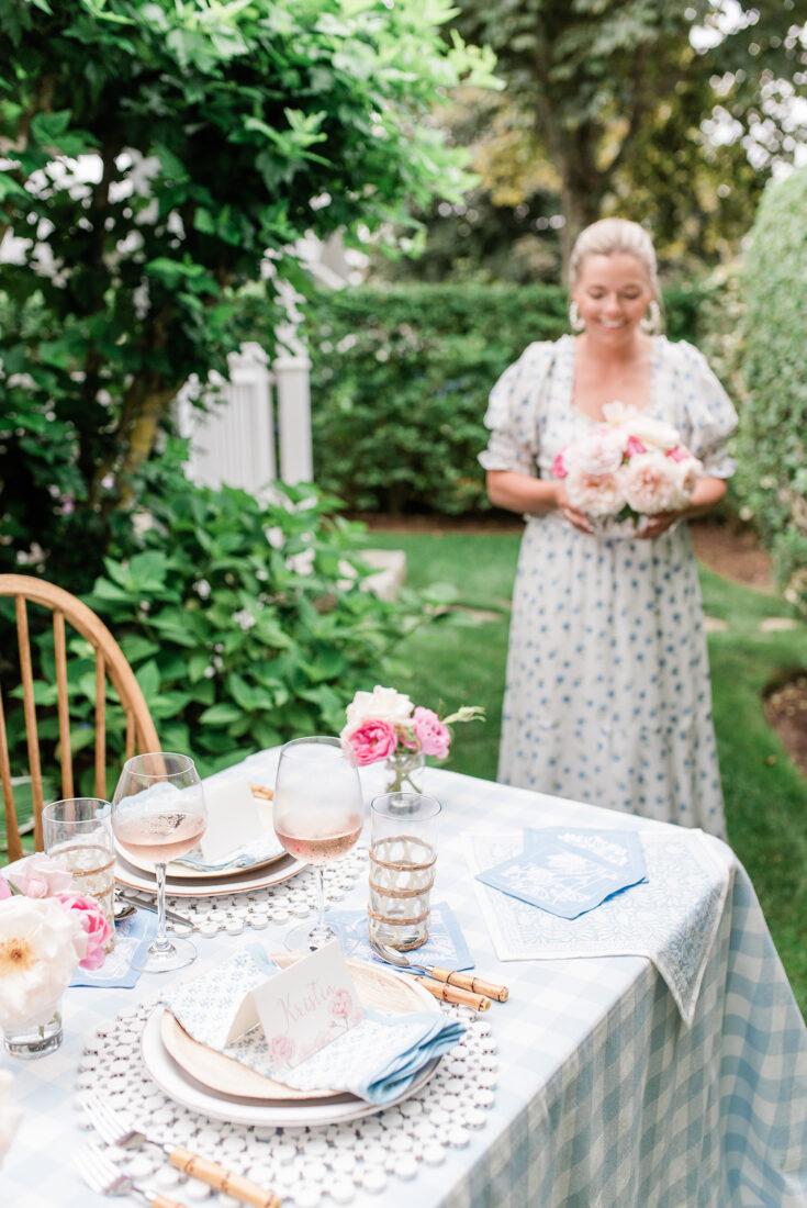 Nantucket Garden Tablescape | Blue + White
