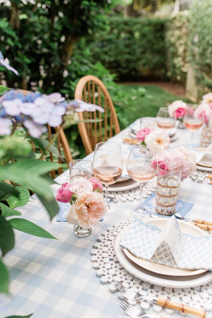 Nantucket Garden Tablescape | Blue, White + Blush Pink Al Fresco Dining